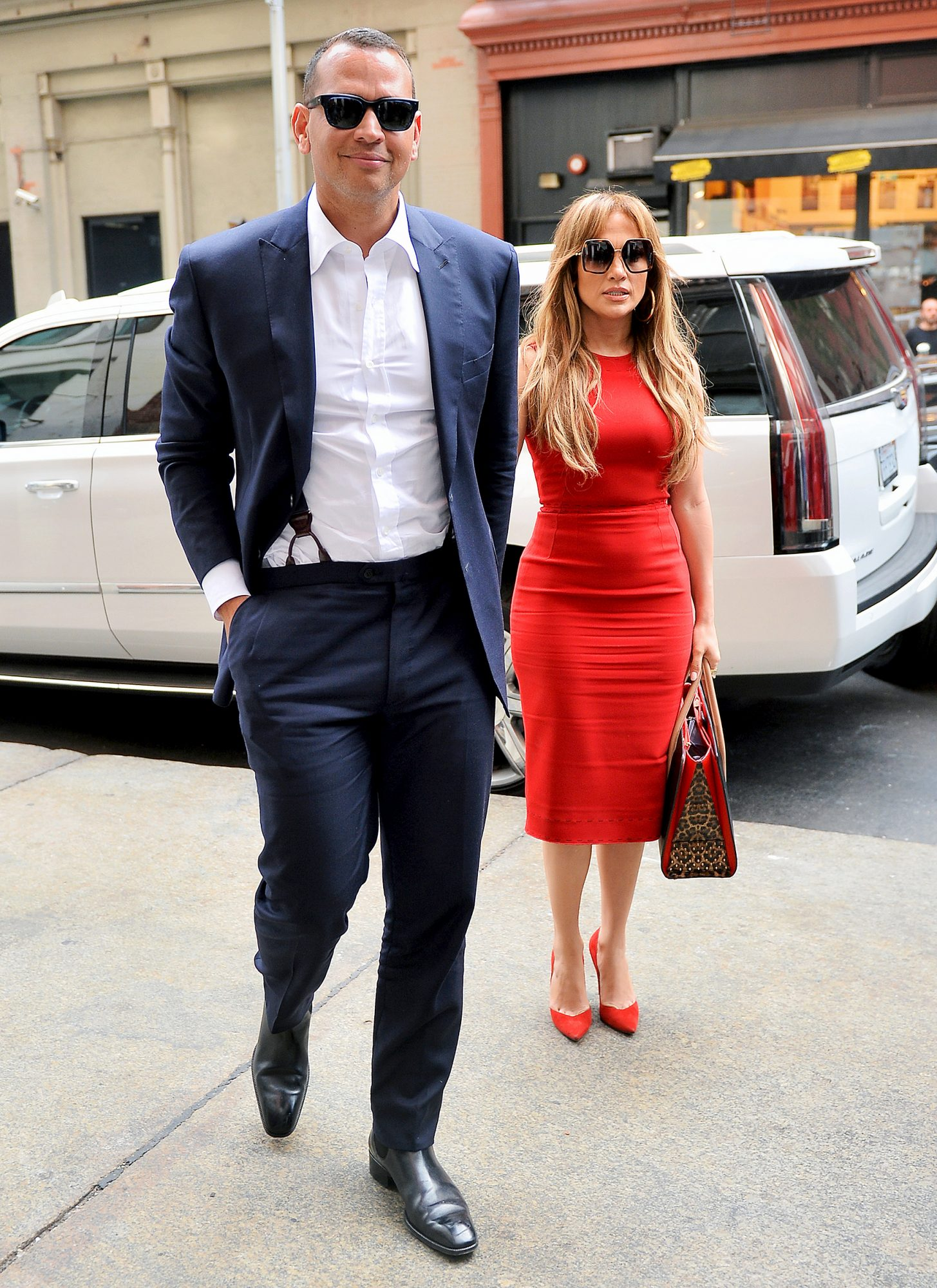 Jennifer Lopez and Alex Rodriguez are a stylish pair as they step out for lunch in NYC