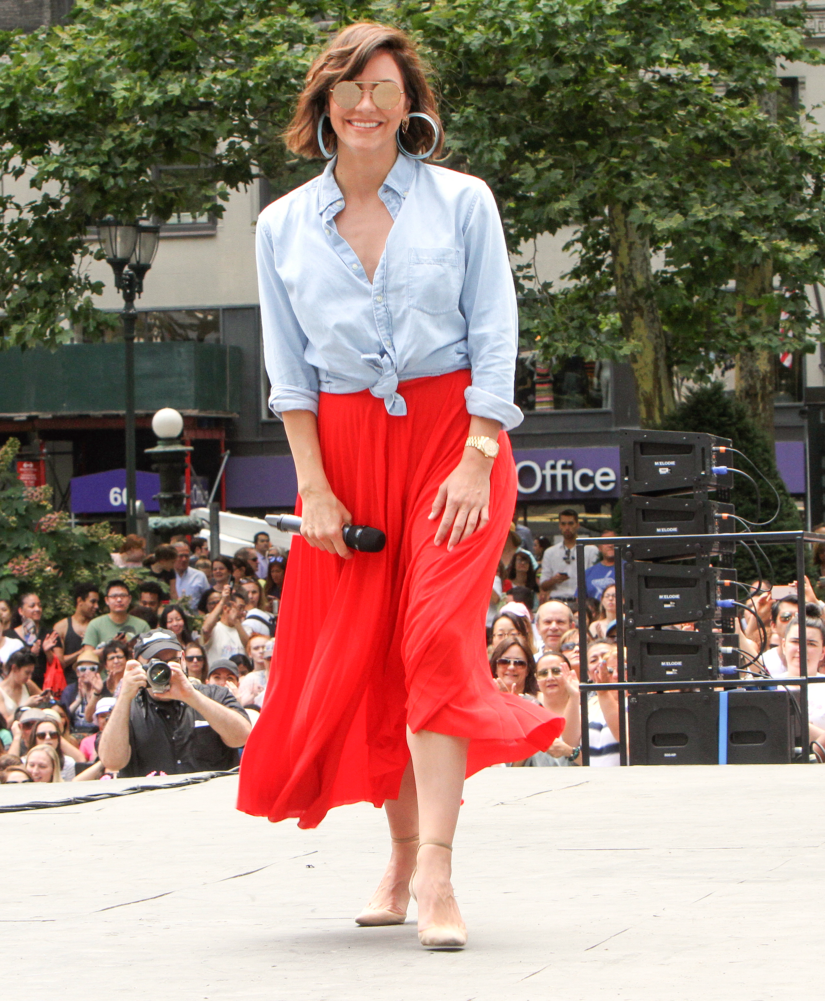 Katharine McPhee Rehearsing for Broadway in the Park at the Bryant Park