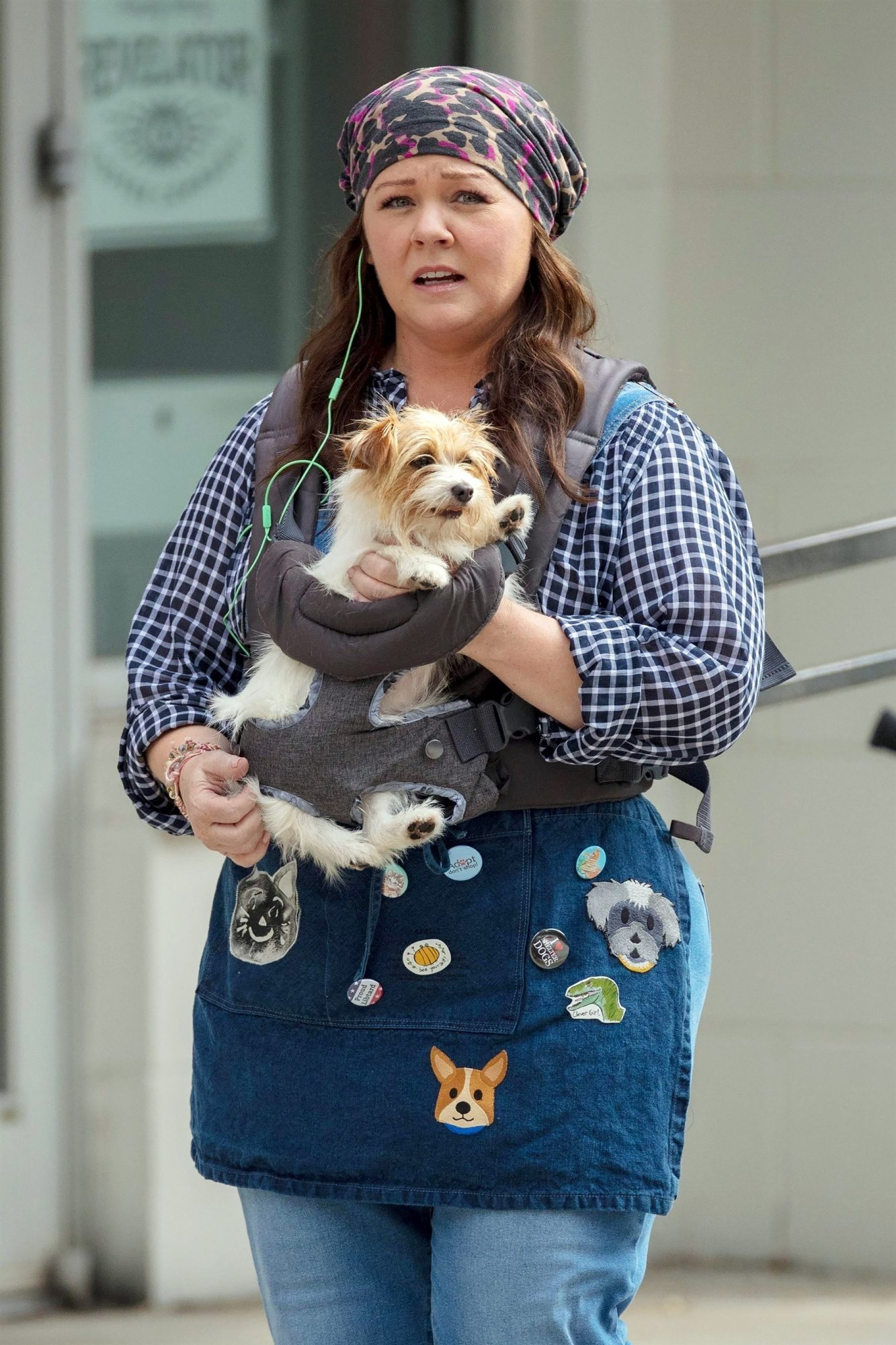 """*EXCLUSIVE* Melissa McCarthy spotted with an adorable pooch strapped to her chest on the set of """"Super Intelligence"""" in Atlanta"""