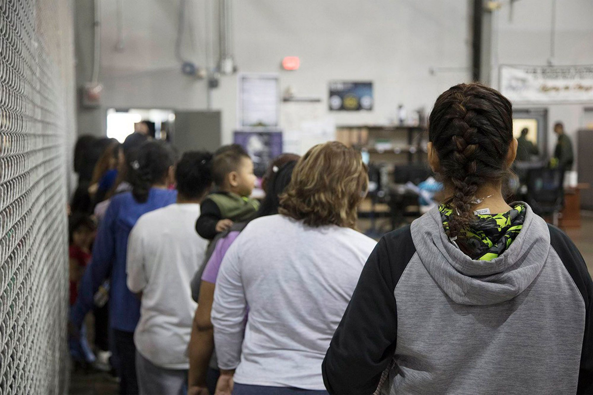 McAllen processing center for people crossing the US border., USA - 18 Jun 2018