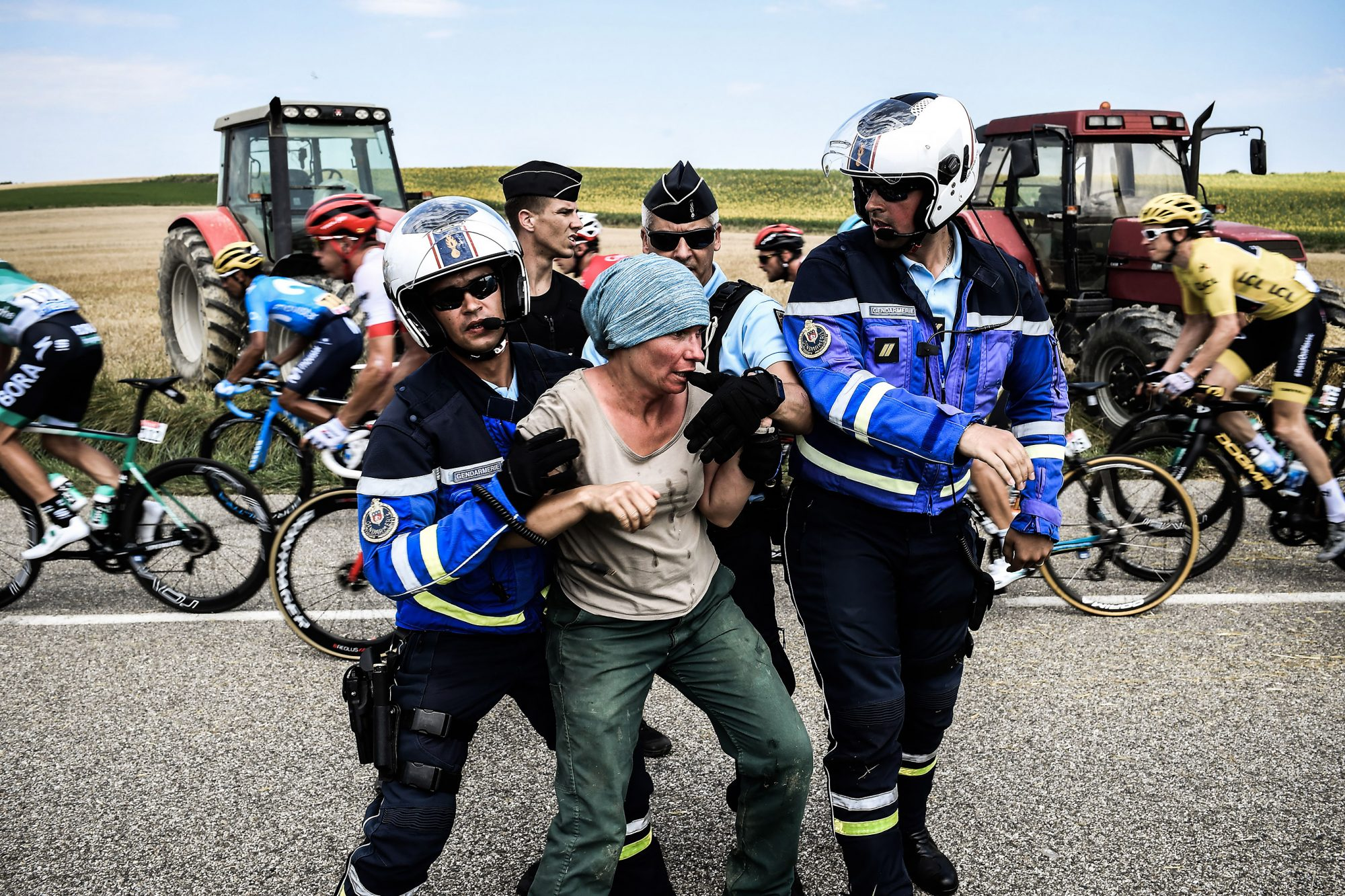CYCLING-FRA-TDF2018-PROTEST
