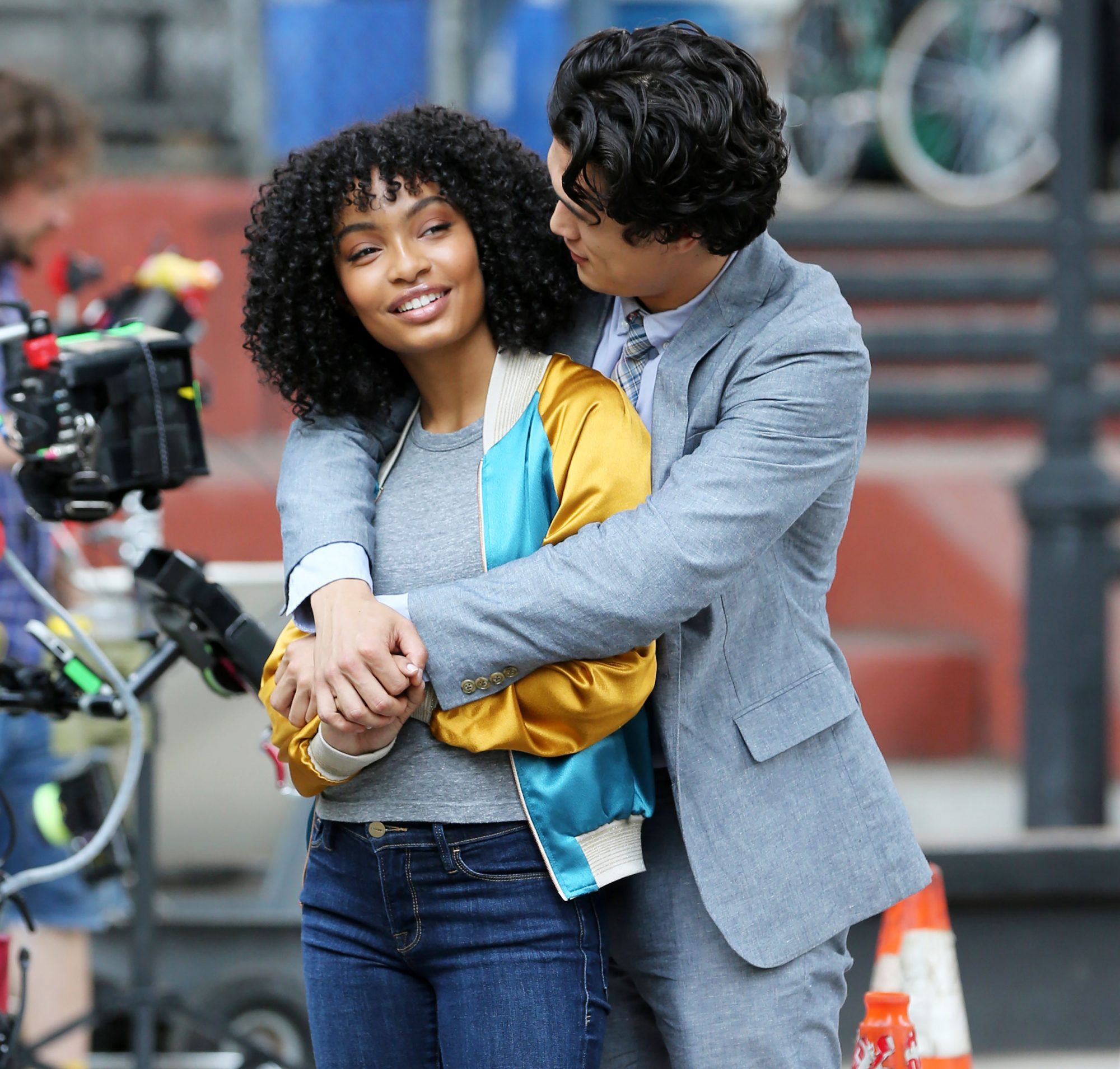 EXCLUSIVE: Actress Yara Shahidi Is Wrapped In The Arms Of Co Star Charles Melton Filming A Love Scene For The Sun Is Also A Star In Chinatown New York