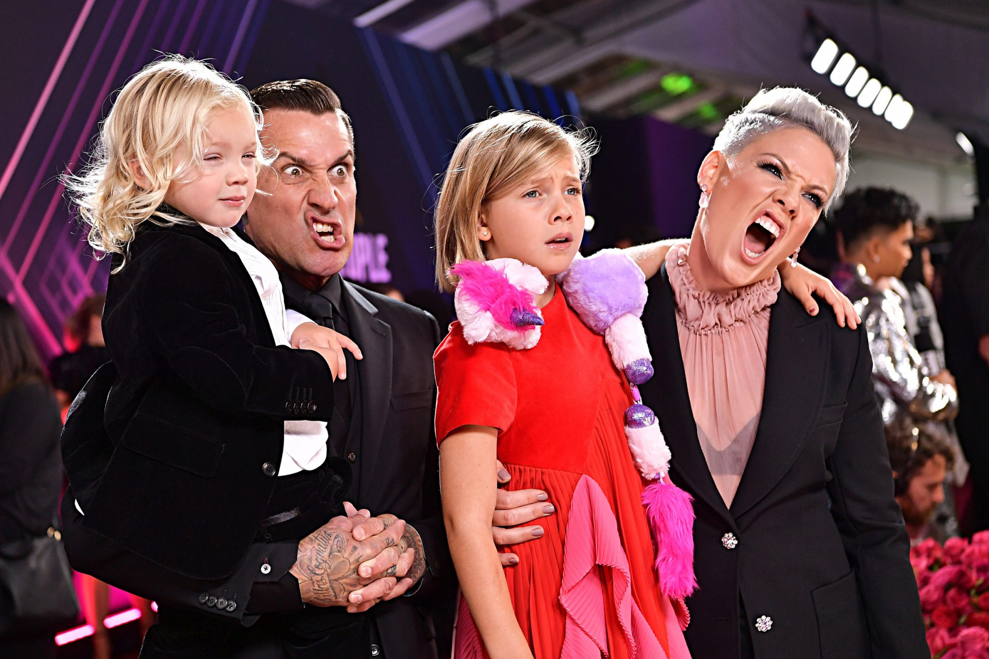 Jameson Hart, Carey Hart, Willow Sage Hart and Pink arrive to the 2019 E! People's Choice Awards held at the Barker Hangar on November 10, 2019