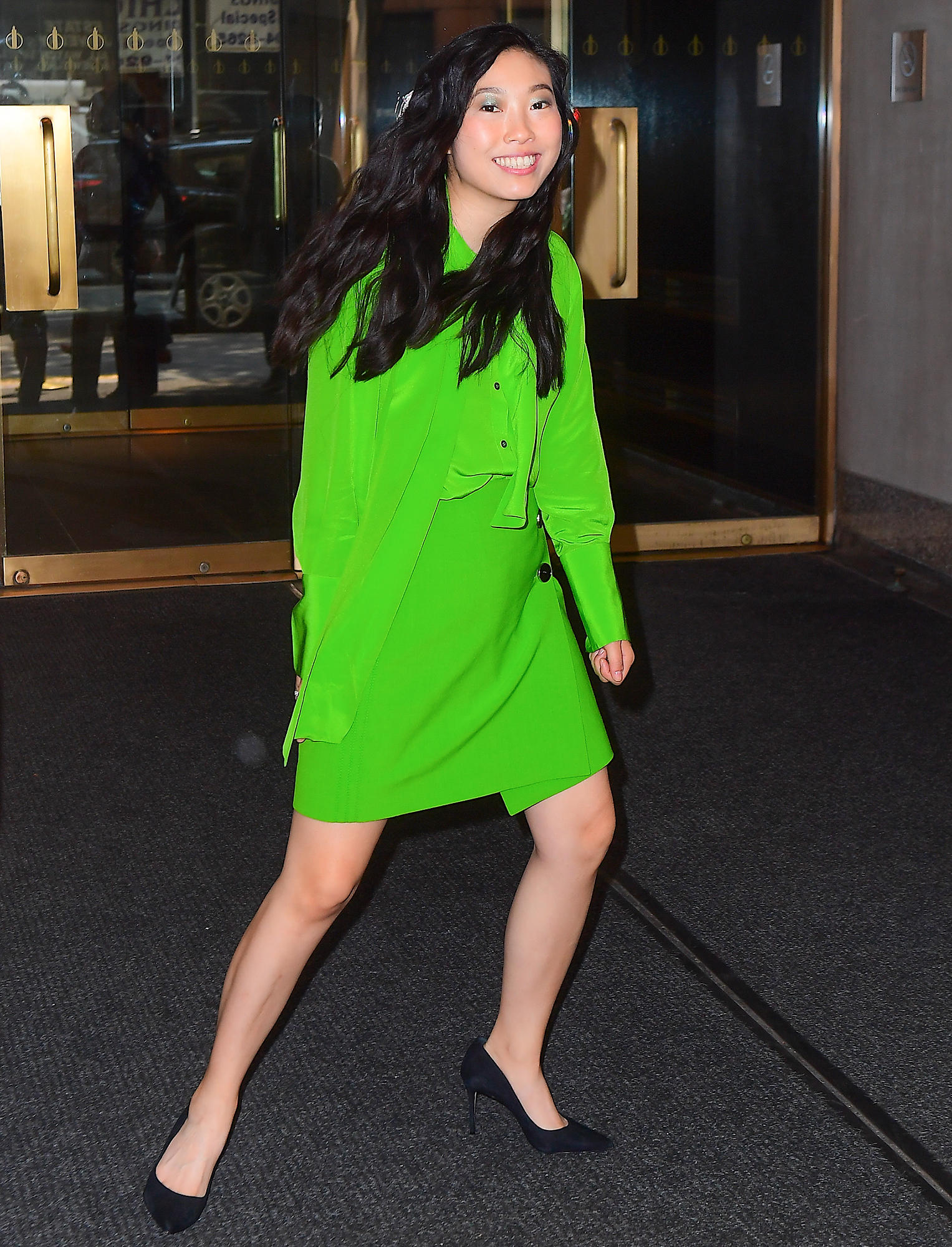 Awkwafina Wears Vibrant Green Dress As She Promotes Crazy Rich Asians In New York City