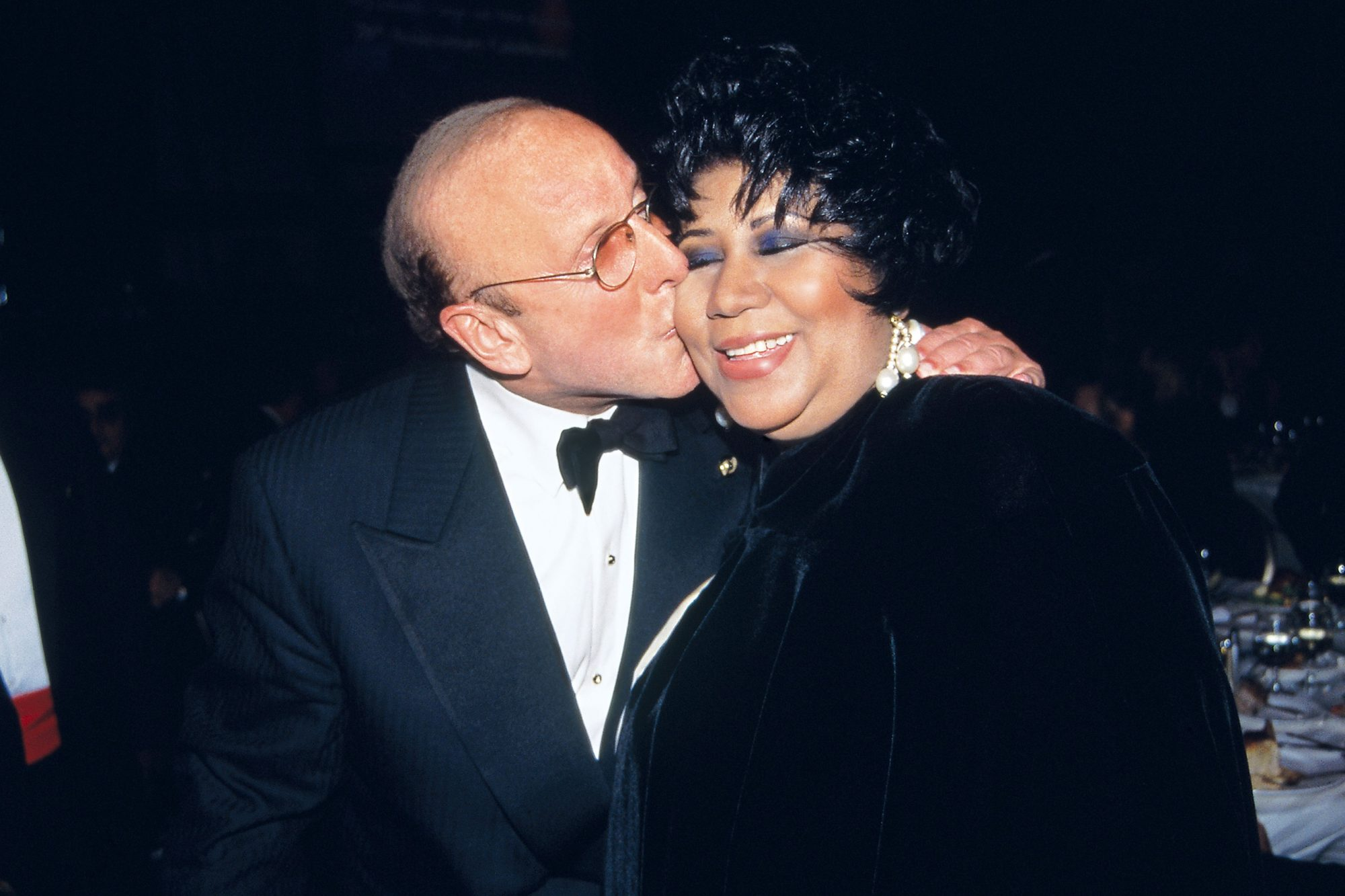 Clive Davis, Aretha Franklin T.J. Martell Foundation benefit in honor of Clive Davis Grand Ballroom of the New York Hilton, NYC September 14, 1995