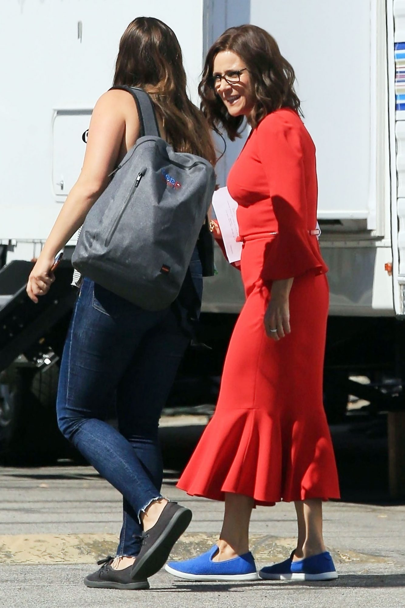 *EXCLUSIVE* Lady in red Julia Louis-Dreyfus ready to film scenes for 'Veep'