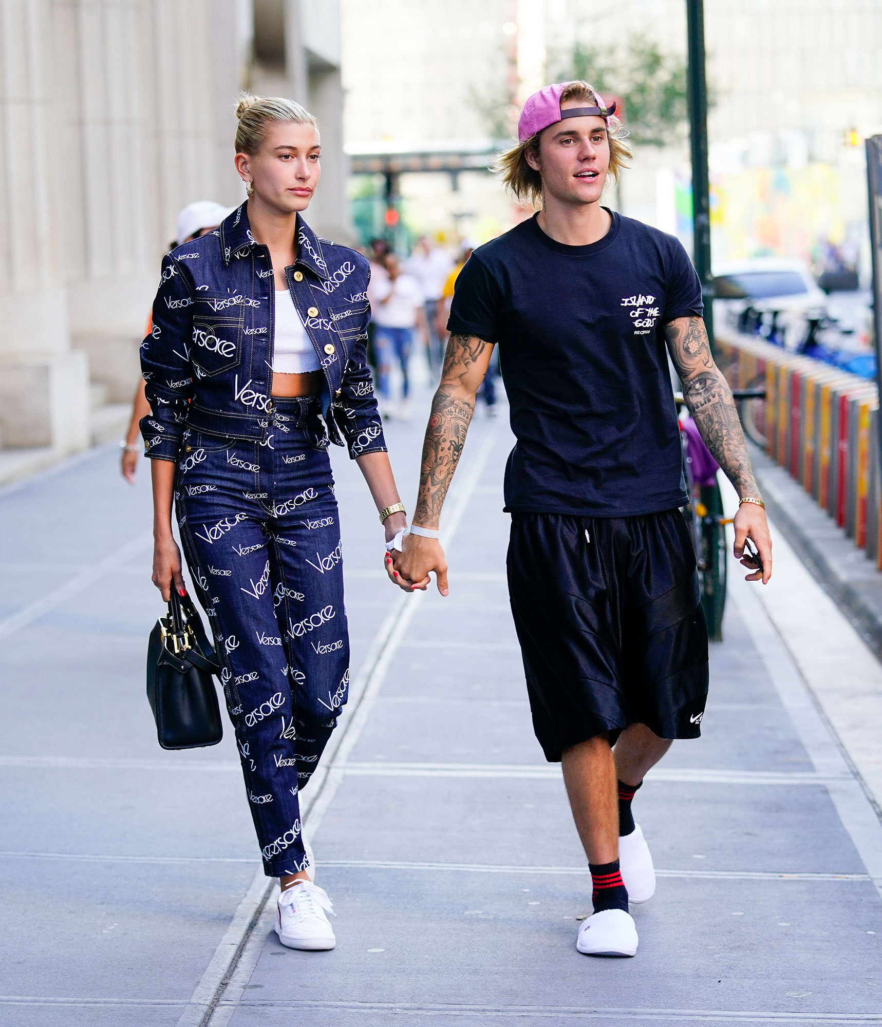 Justin Bieber and Hailey Baldwin hold hands when exiting Nobu restaurant in New York