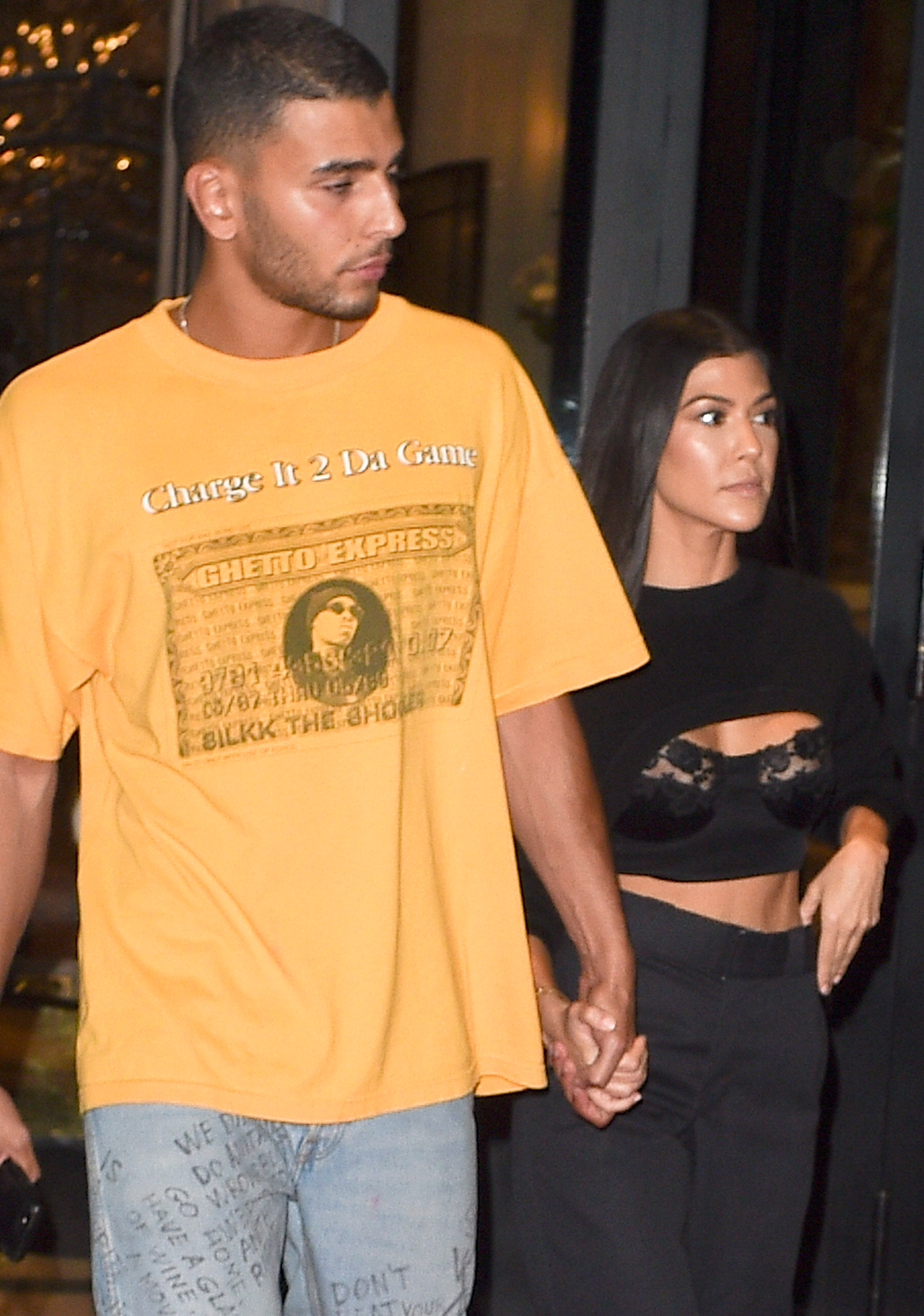 Kourtney Kardashian & Younes younes bendjima are seen leaving the plaza hotel to go to Dinner
