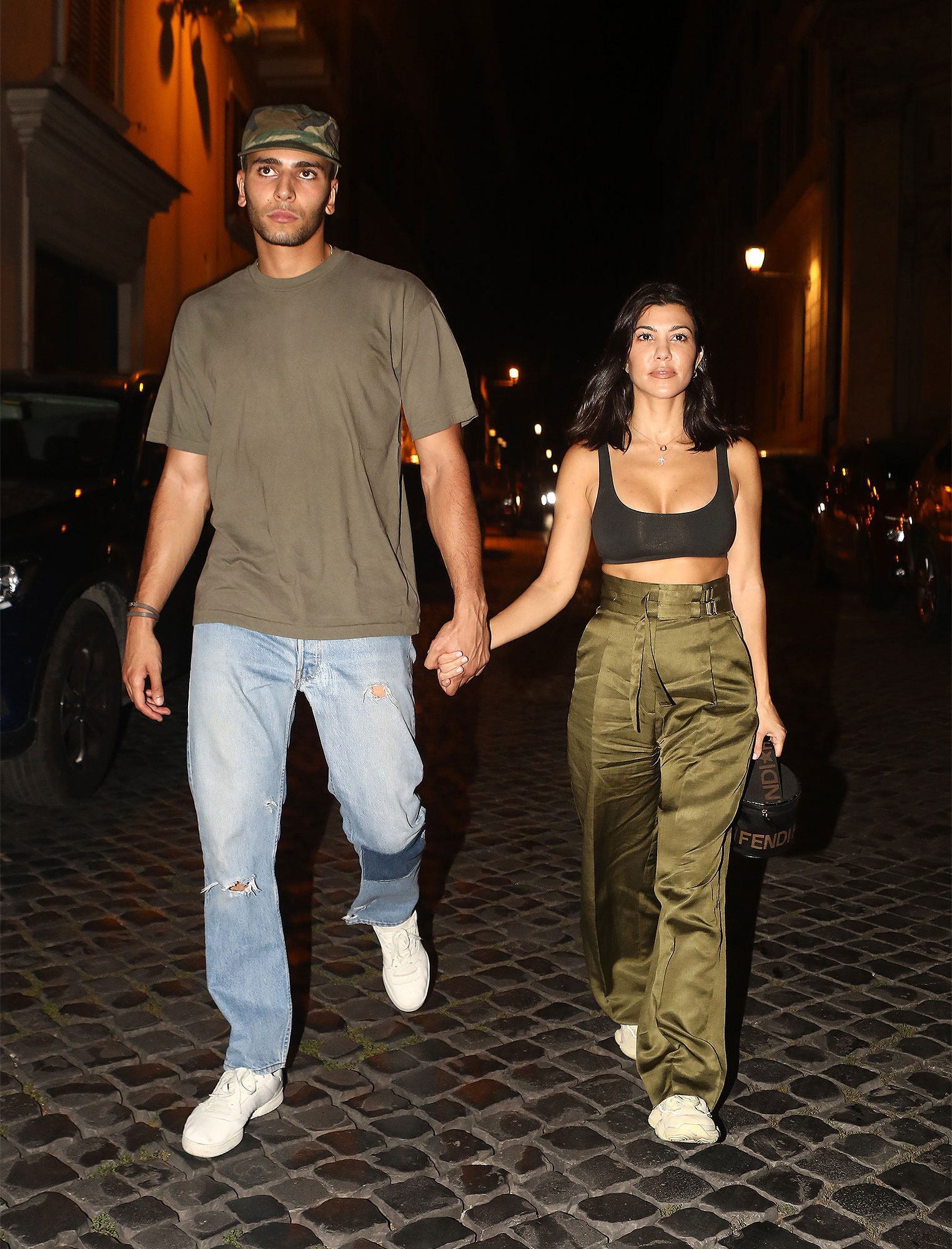 Kourtney Kardashian and Boyfriend Younes Bendjima are Spotted Having a Romantic Dinner in Rome, Italy.