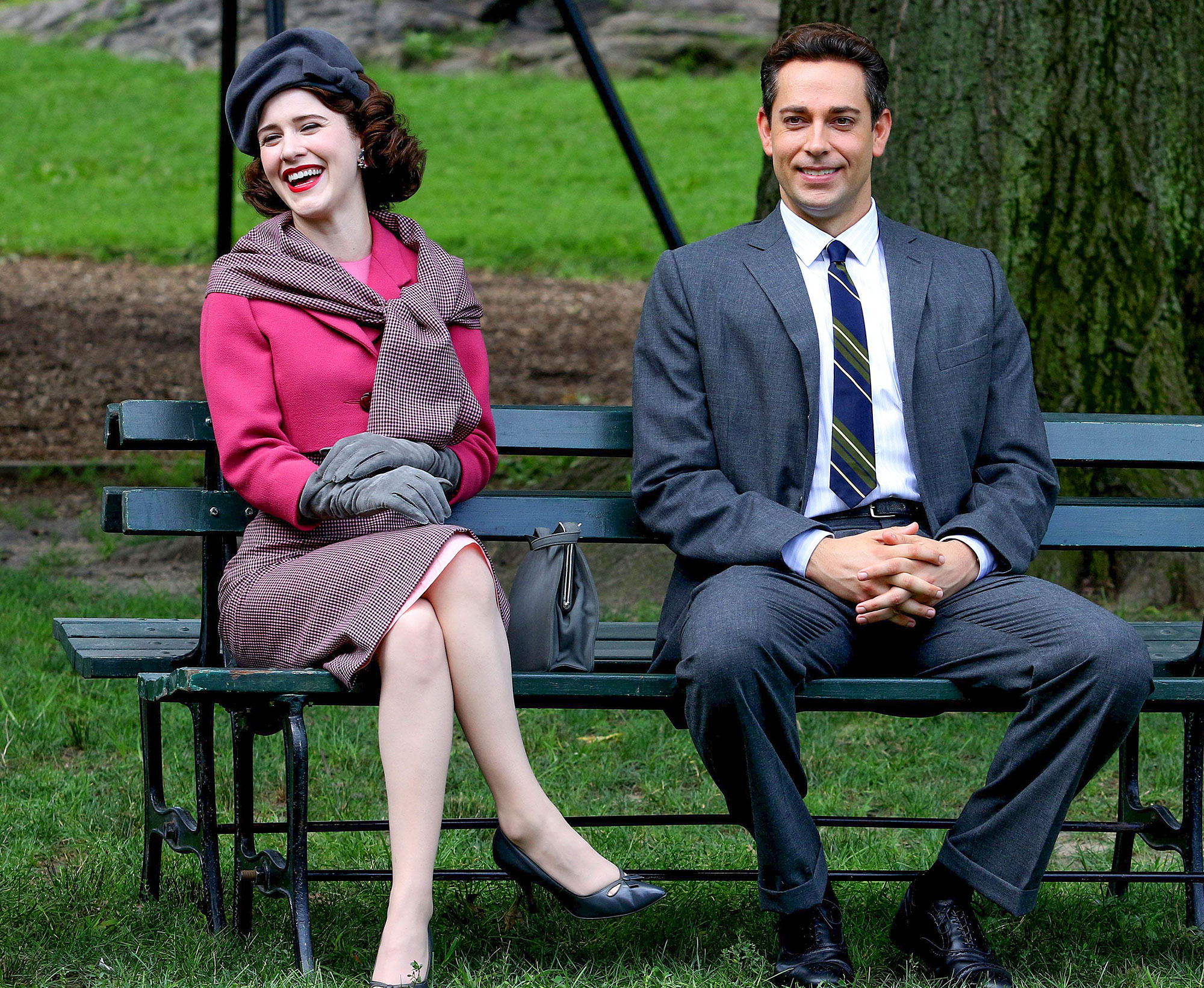 """Rachel Brosnahan and Zachary Levi filming """"The Marvelous Mrs. Maisel"""" in Central Park, NYC"""