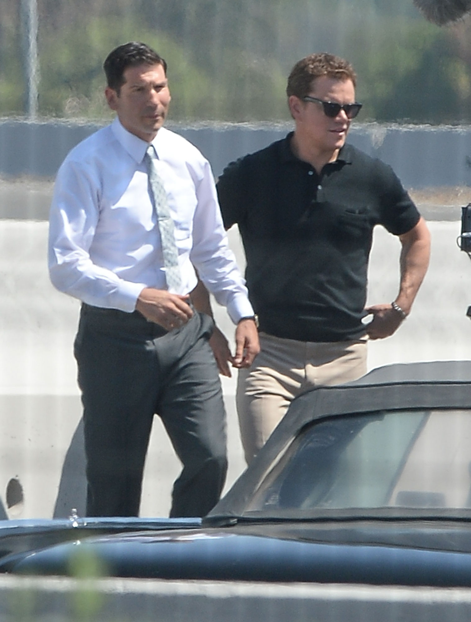 EXCLUSIVE: Matt Damon is Spotted on the Set of Ford v. Ferrari in Los Angeles.