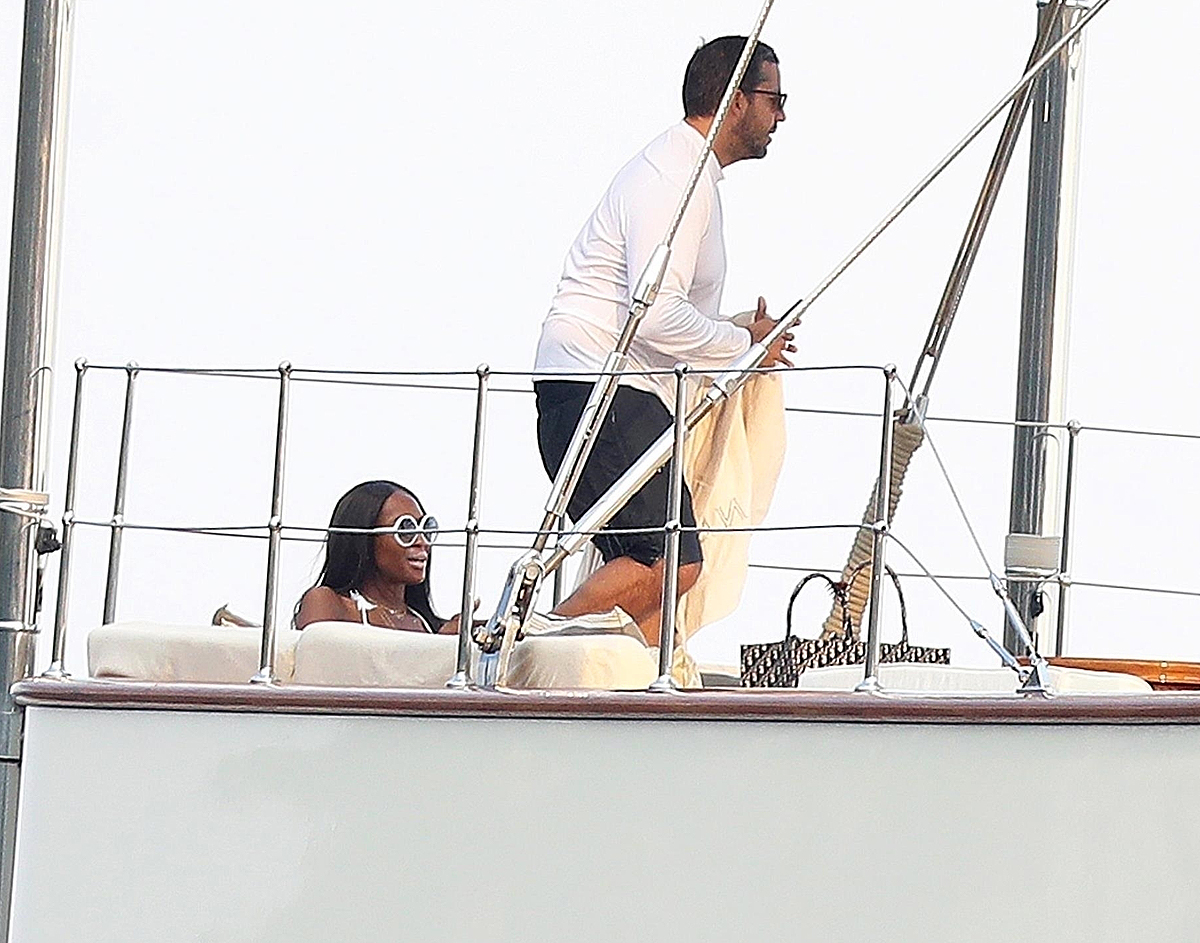 *EXCLUSIVE* Naomi Campbell shows that she's still got it while relaxing on a yacht in Saint-Tropez