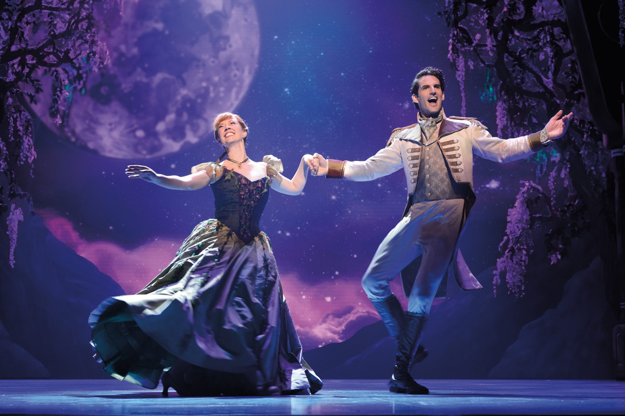 Patti Murin (Anna) and John Riddle (Hans) in FROZEN on Broadway. Photo by Deen van Meer