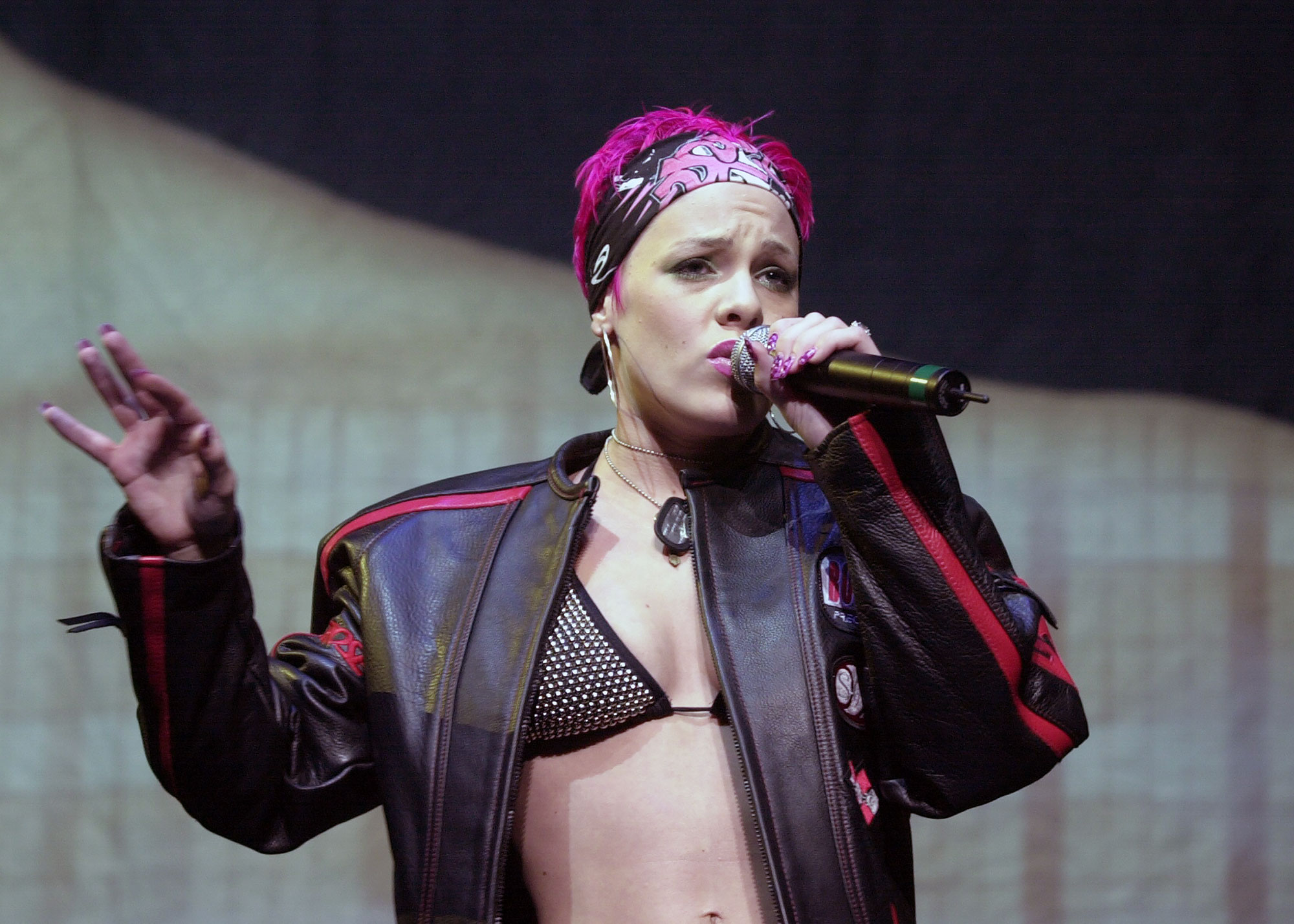 R&B-pop singer Pink onstage at Madison Square Garden. She wa