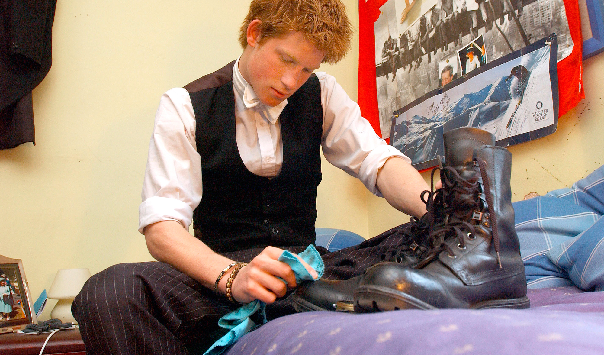 Prince Harry Polishes Boots