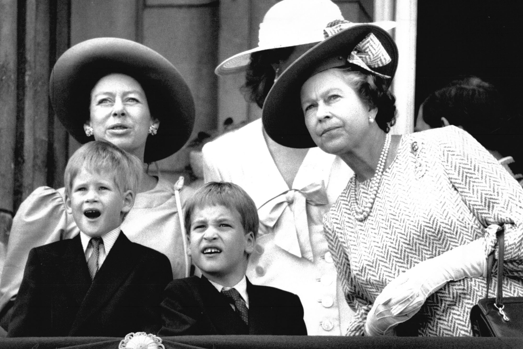 Trooping The Colour 1989. Queen Elizabeth Ii Princess Margaret Prince William And Prince Harry On Balcony At Buckingham Palace.