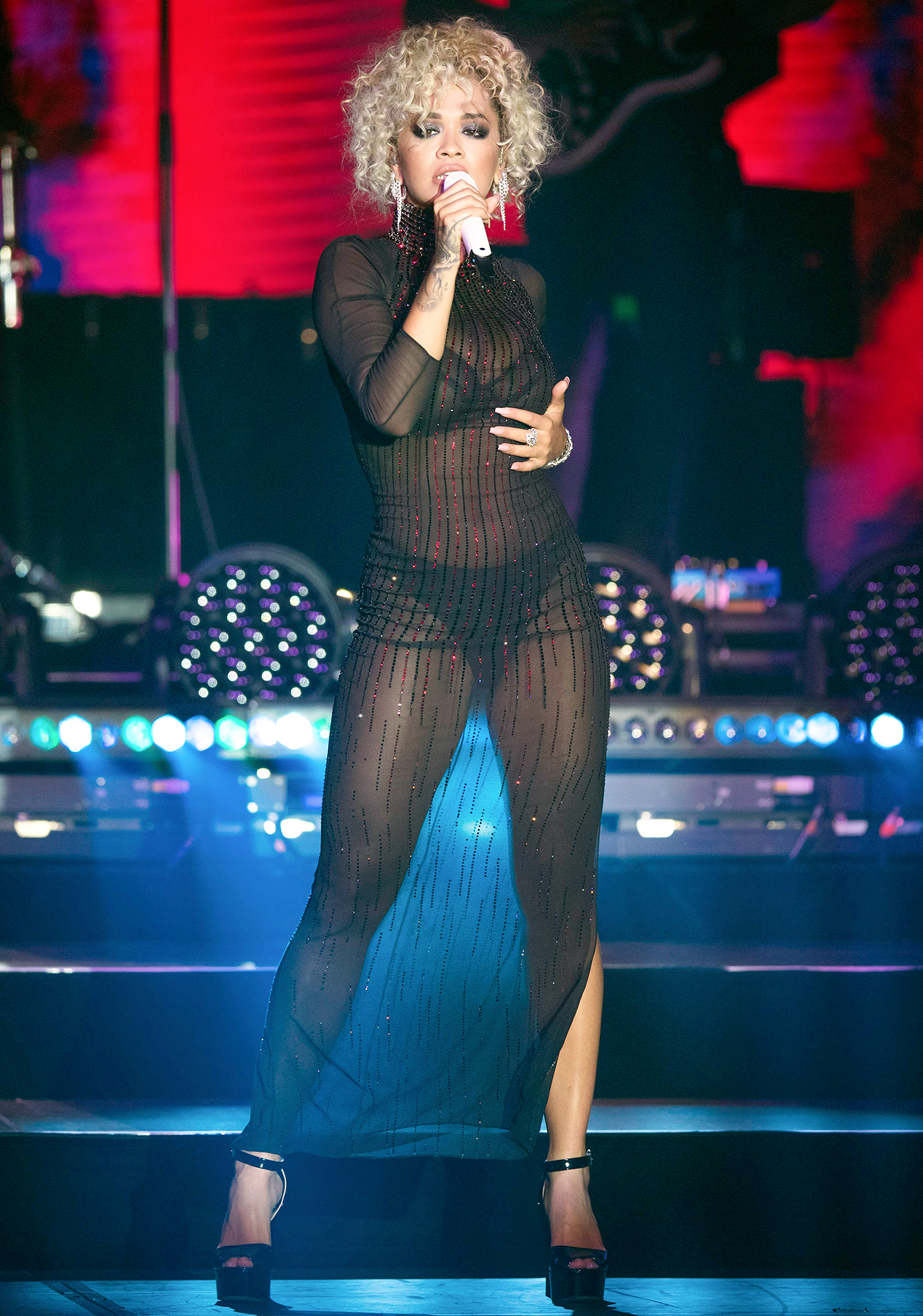 Rita Ora Delivers Unforgettable Performance In Sexy Sheer Black Ensemble USA ONLY