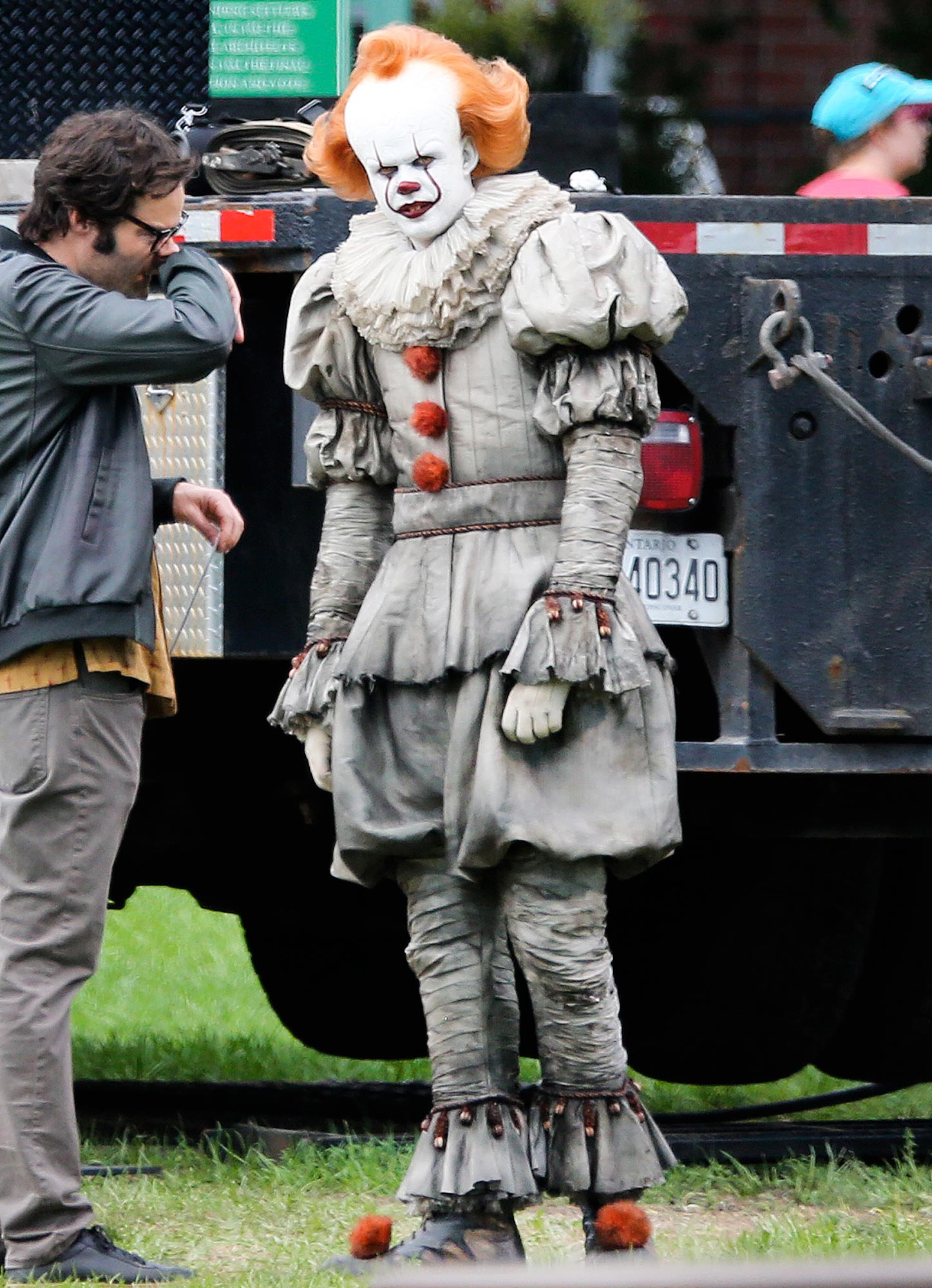 EXCLUSIVE: Bill Skarsgard Scares Bill Hader While Dressed as Pennywise on set of 'It: Chapter Two' in Port Hope, Canada.