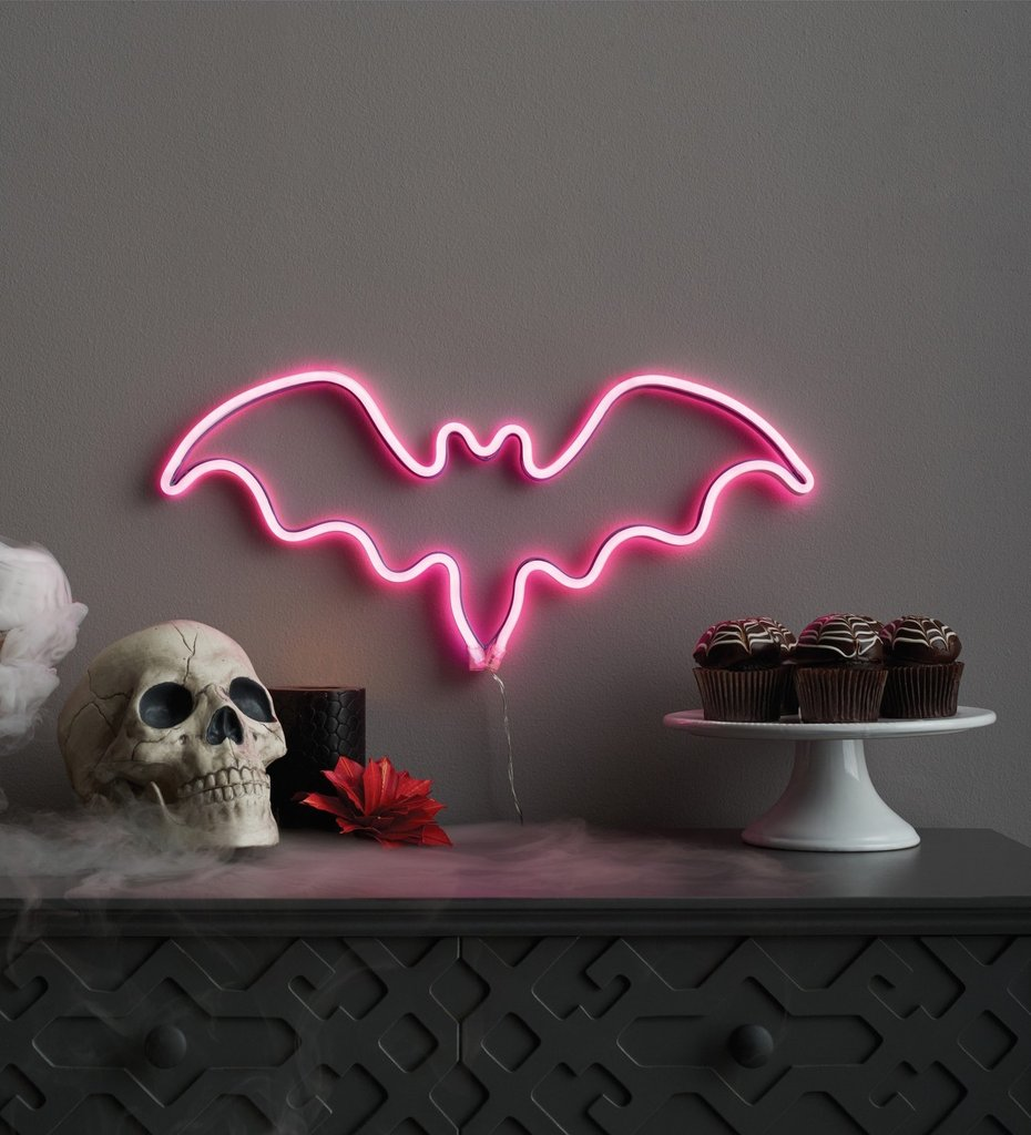 Halloween Faux Neon Purple Bat Silhouette Sign from Target