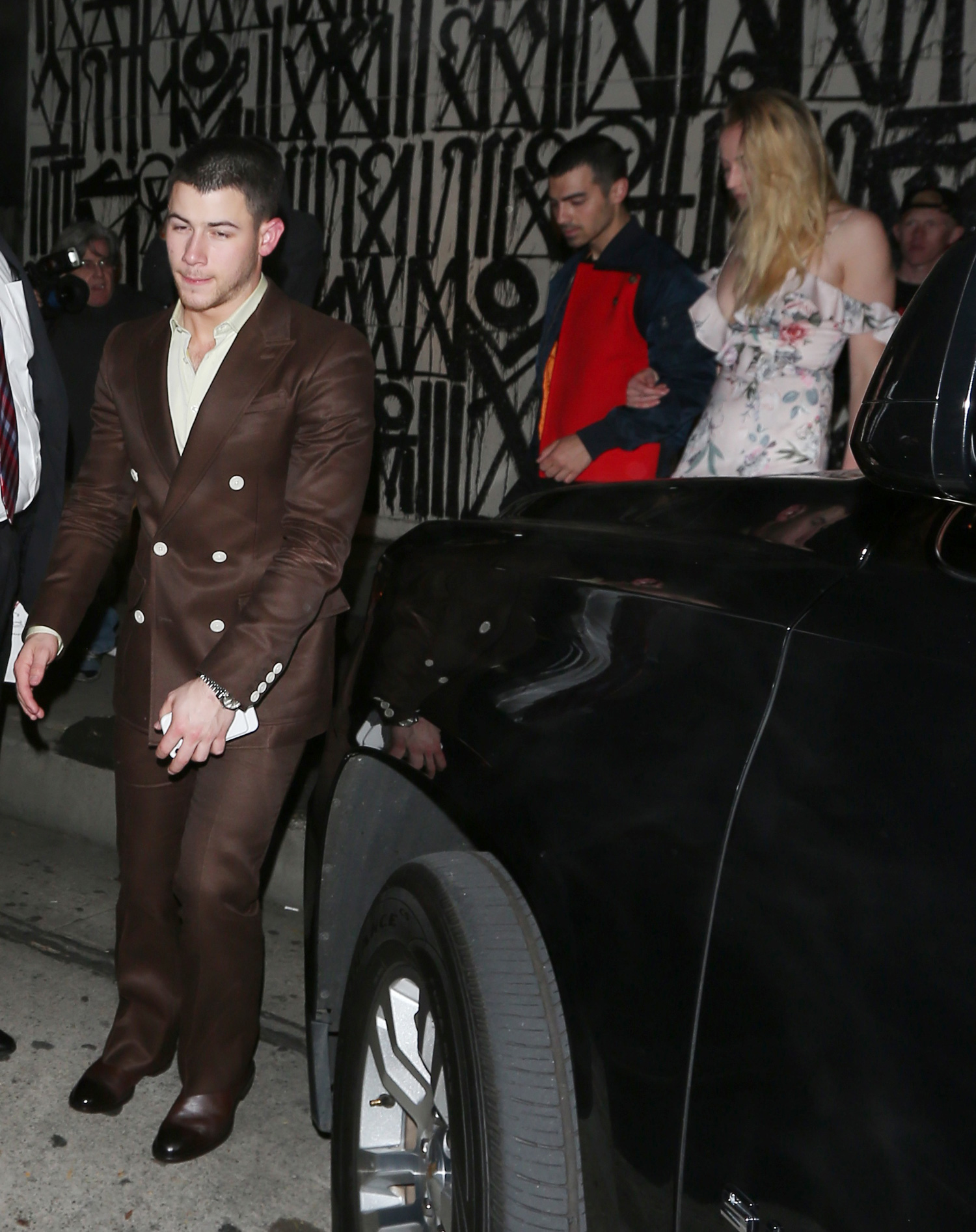 Nick Jonas and his brother Joe along with his girlfriend Sophie Turner dine at Craig's restaurant together