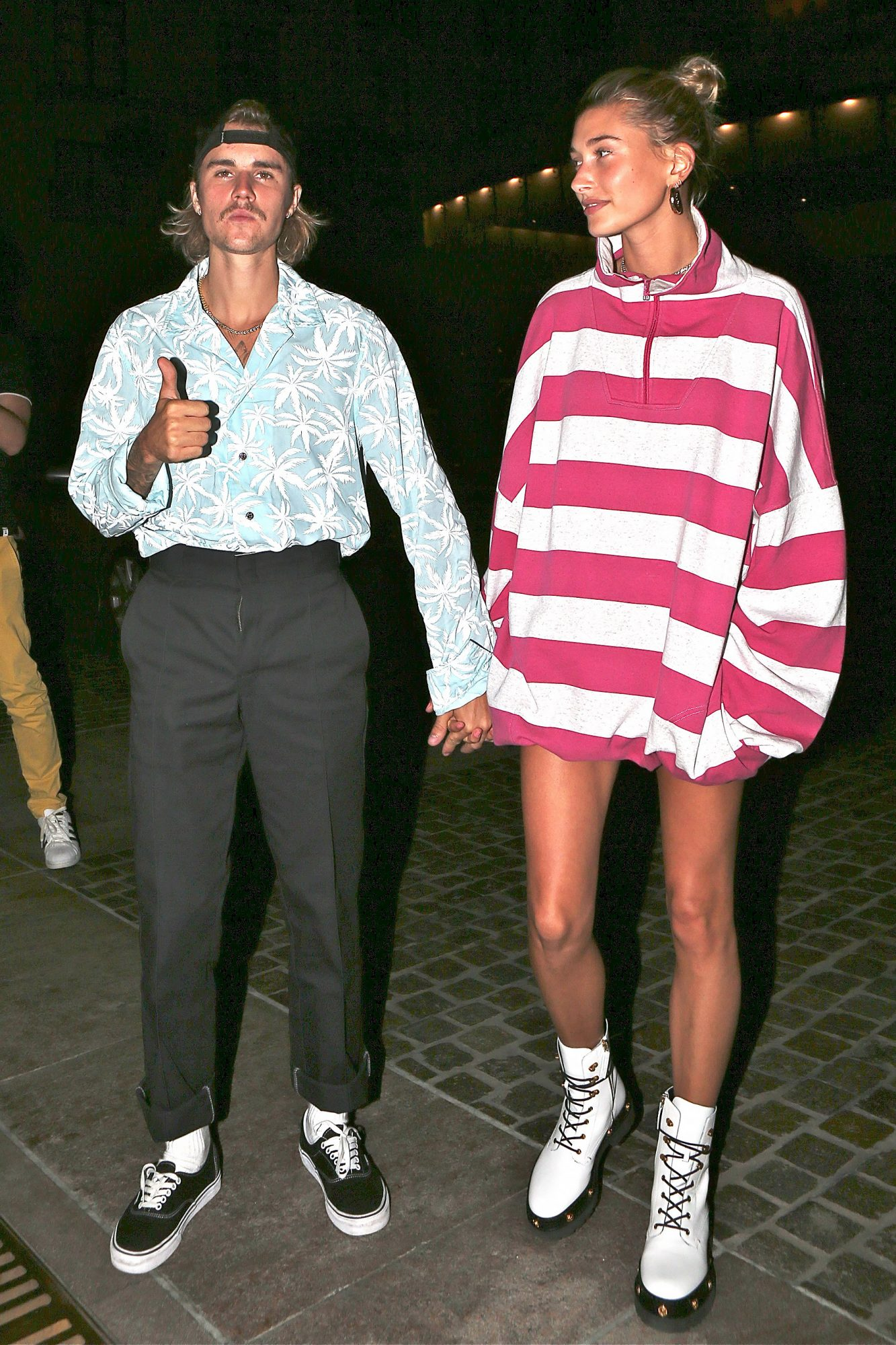 Justin Bieber walks Hailey Baldwin to Mastros restaurant in Beverly Hills