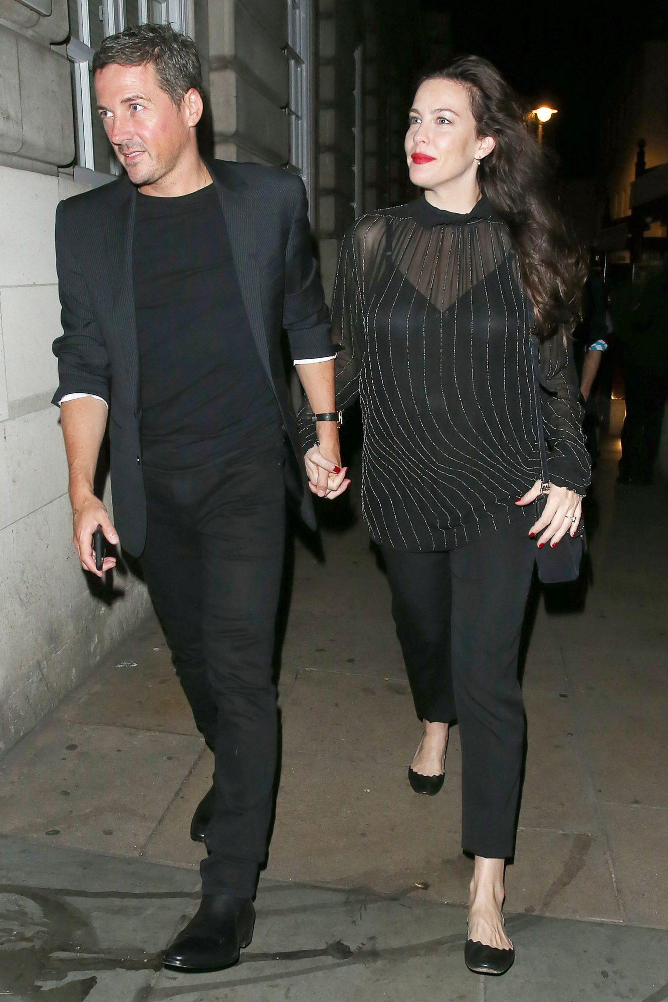 Liv Tyler and Dave Gardner are Pictured Leaving Loulou's Private Members Club in Mayfair, London.