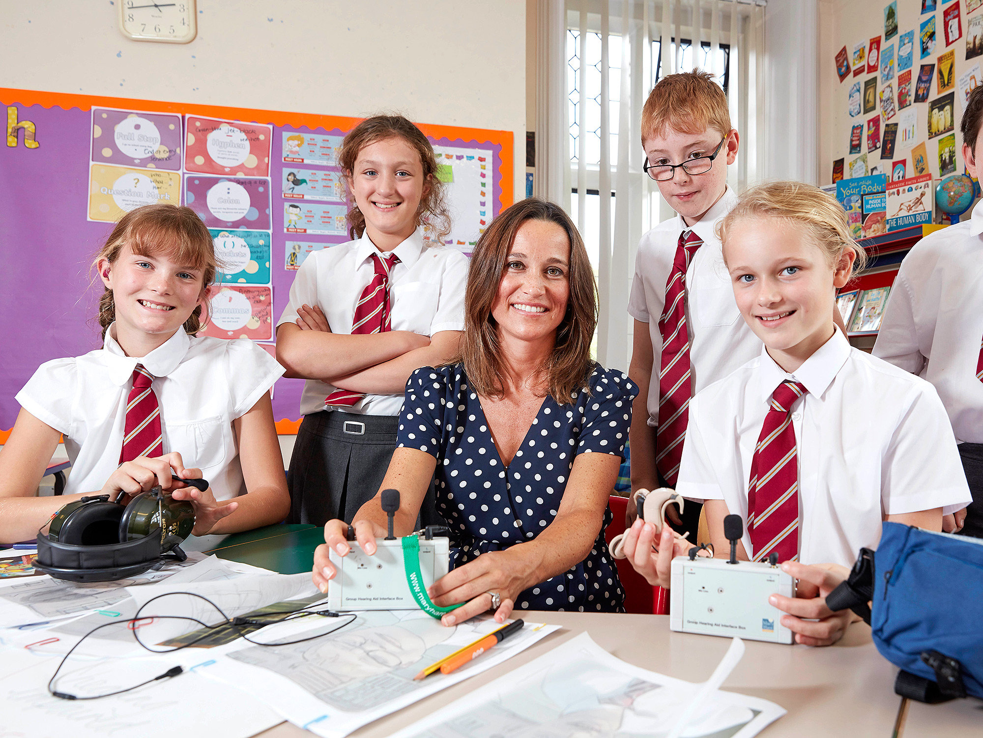 Pippa Middleton in the class room at the Mary Hare school .Copyright Photo by Les Wilson Les@leswilson.com5th Sept  2018