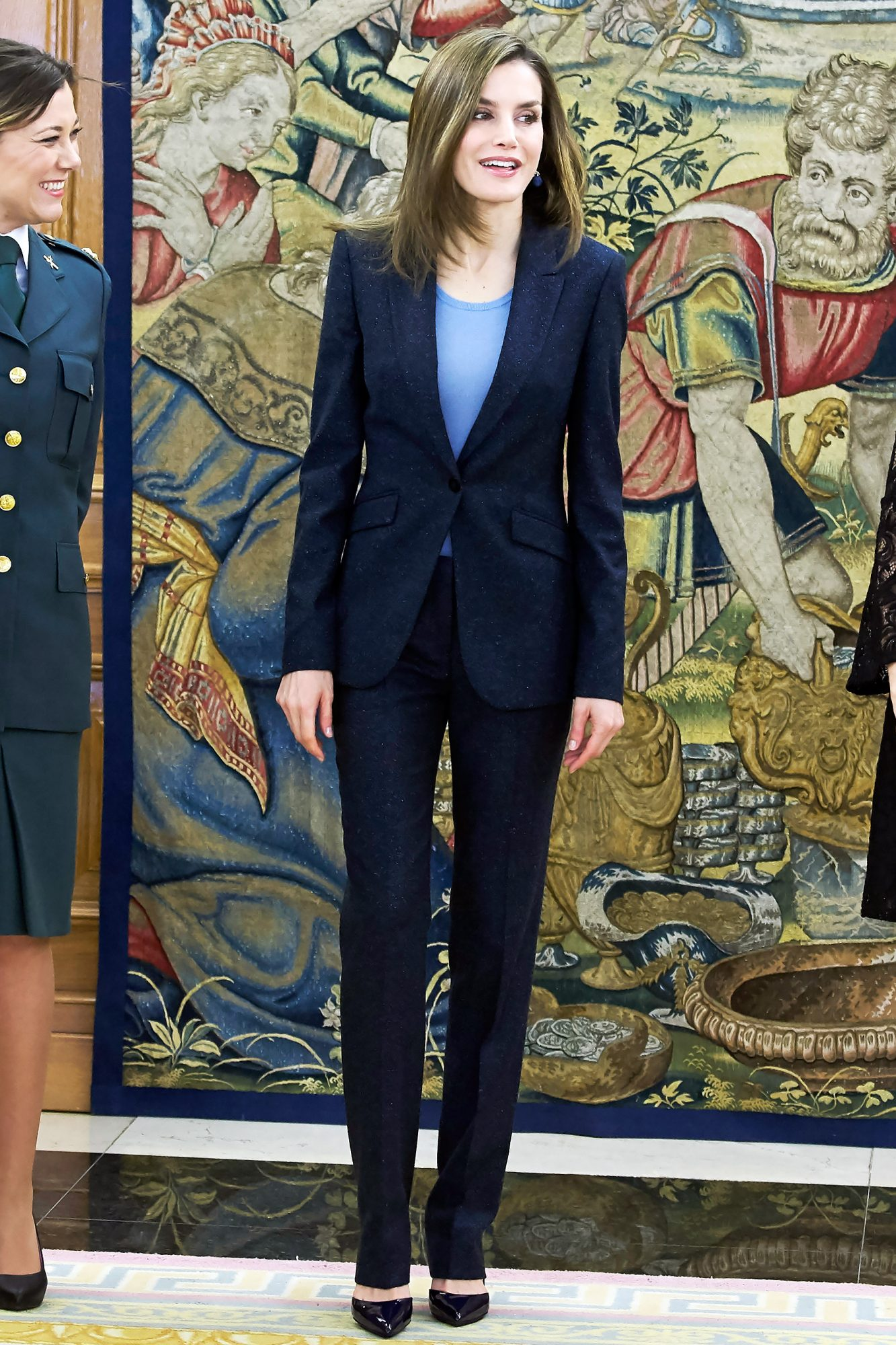 Queen Letizia Attends Audiences at Zarzuela Palace in Madrid
