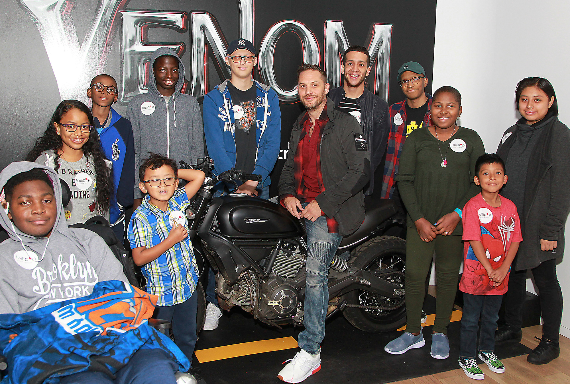 Lollipop Theater Network hosts outpatient visit to Sony Square NYC Venom activation with special guest Tom Hardy