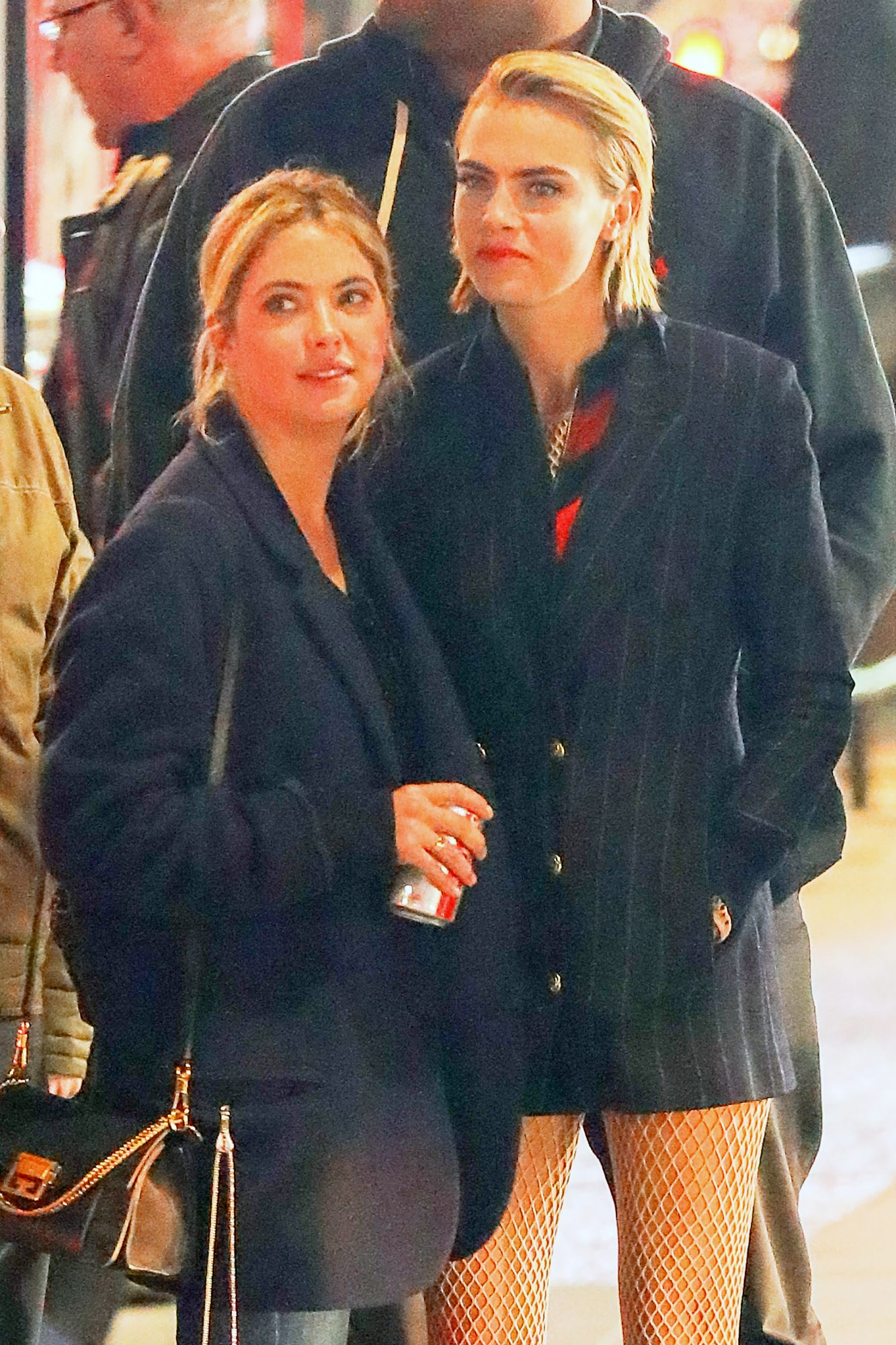 EXCLUSIVE: Cara Delevingne gets visit at the work by her girlfriend Ashley Benson in New York City