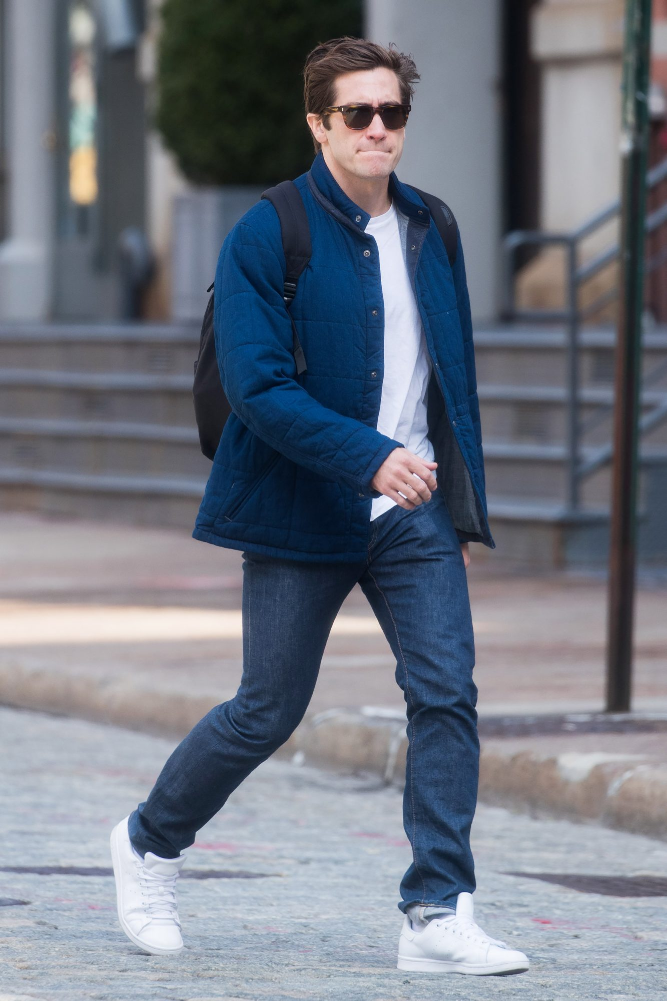 EXCLUSIVE: Jake Gyllenhaal spotted taling a stroll in Tribeca, New York.
