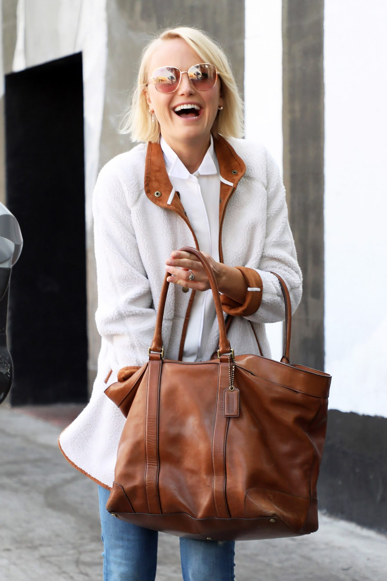 Malin Akerman Beats the Autumn Chill in her Old Navy Sherpa Coat