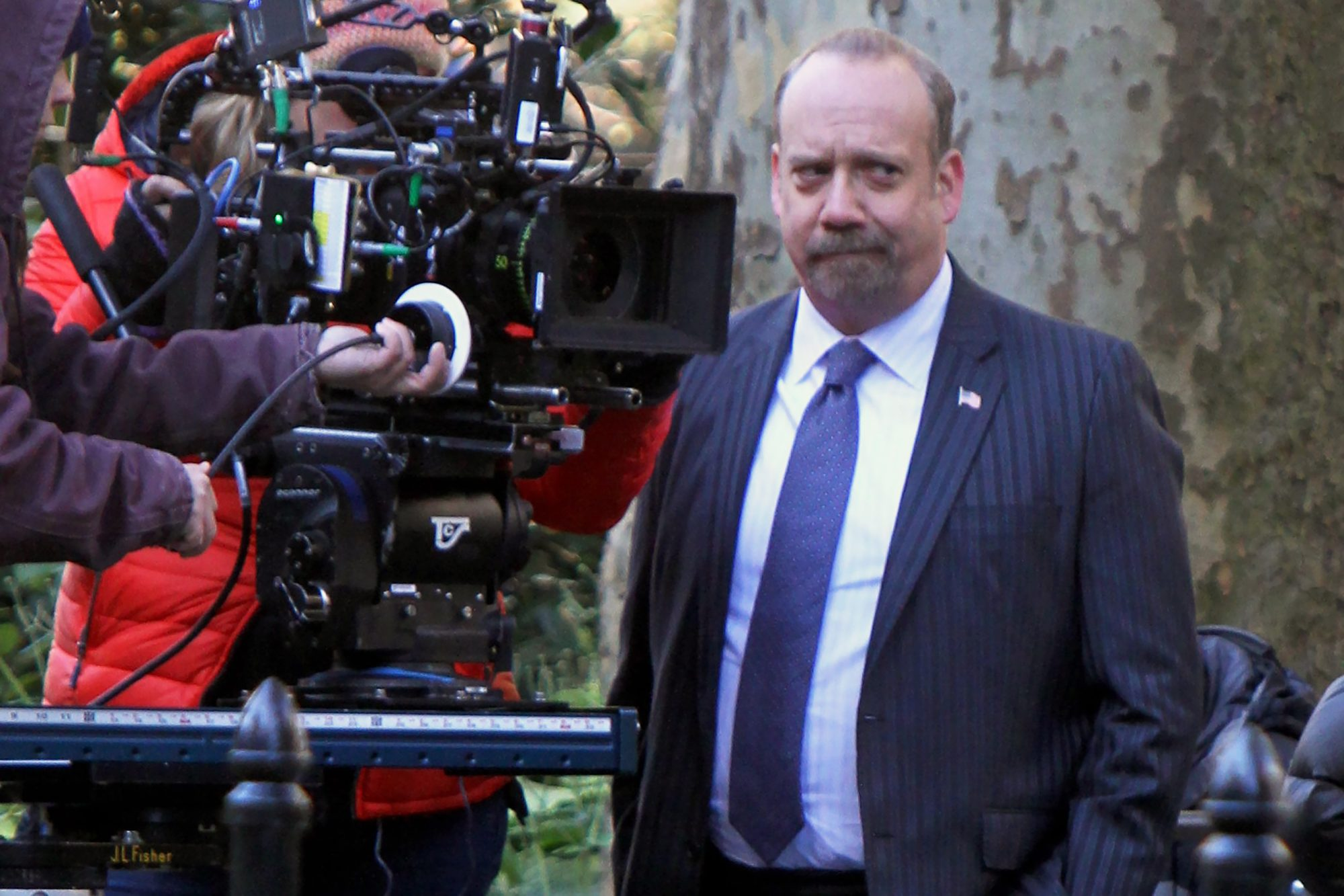 """Paul Giamatti and Maggie Siff at the """"Billions"""" set in Madison Square Park, NYC"""