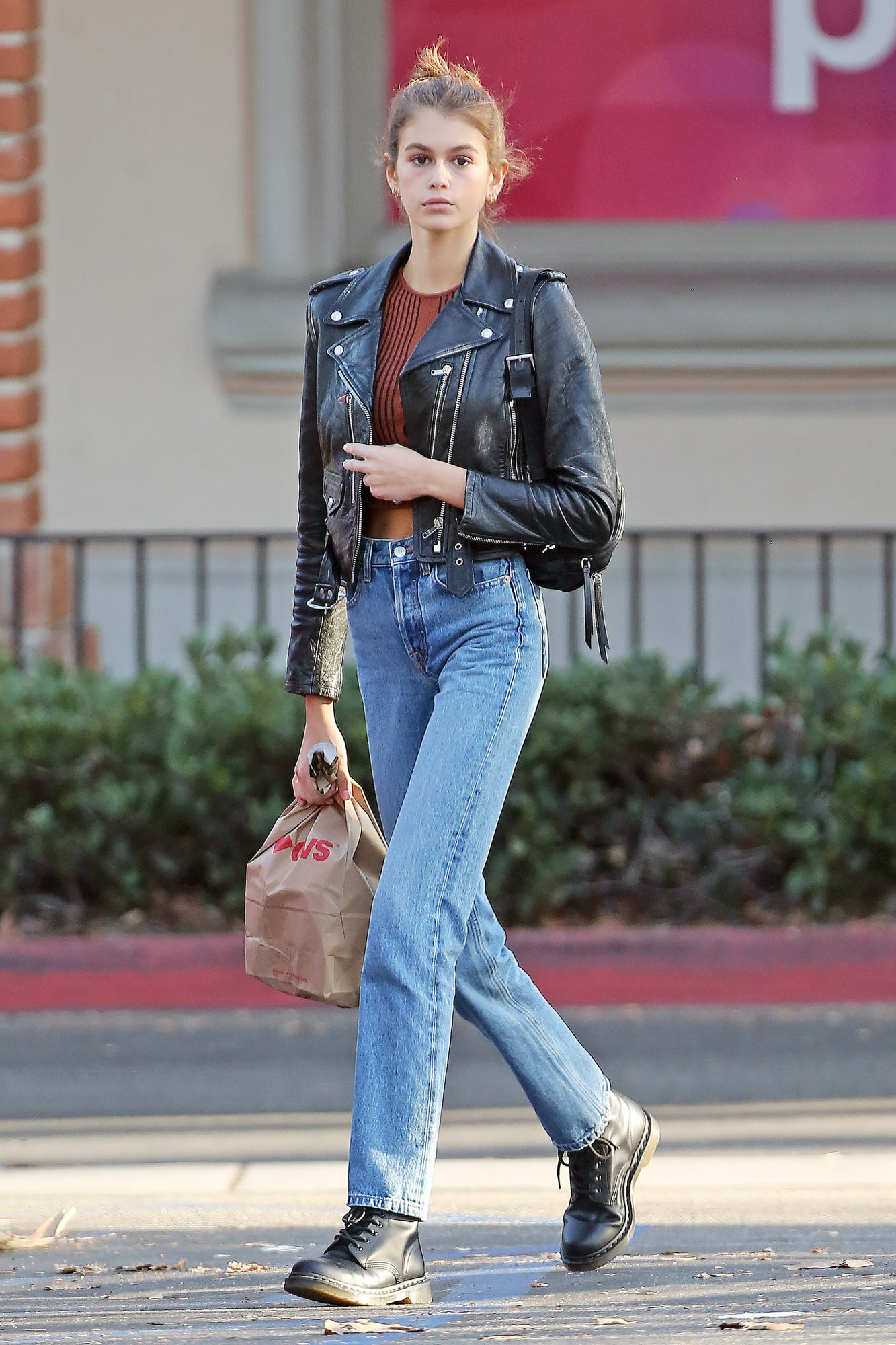 EXCLUSIVE: Kaia Gerber Displays Her Rebel Side In Leather Jacket And Jeans While Stopping At CVS And Cafe Habana In Malibu