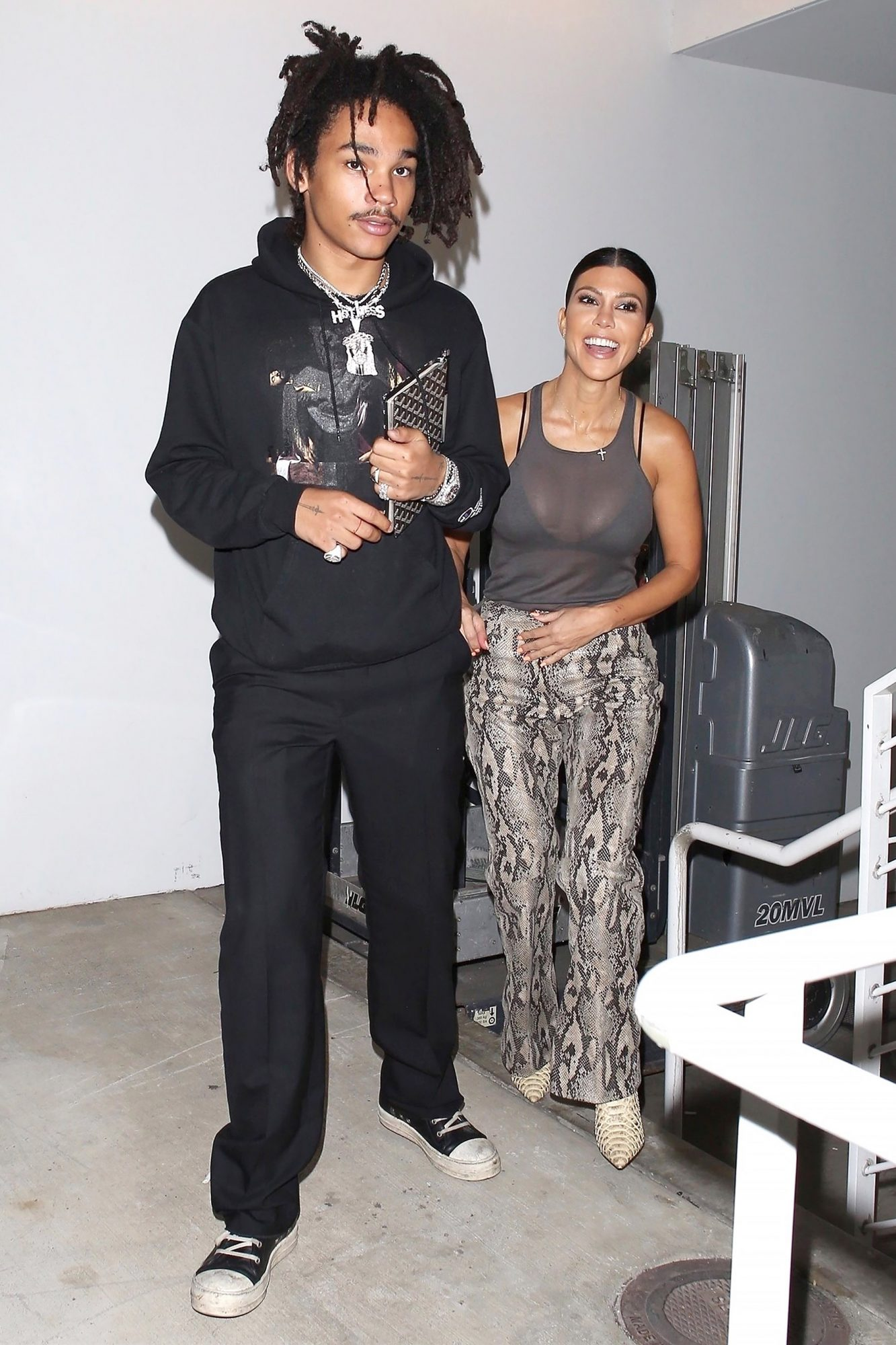 Kourtney Kardashian and Luka Sabbat leave an Off-White event at Gagosian Gallery