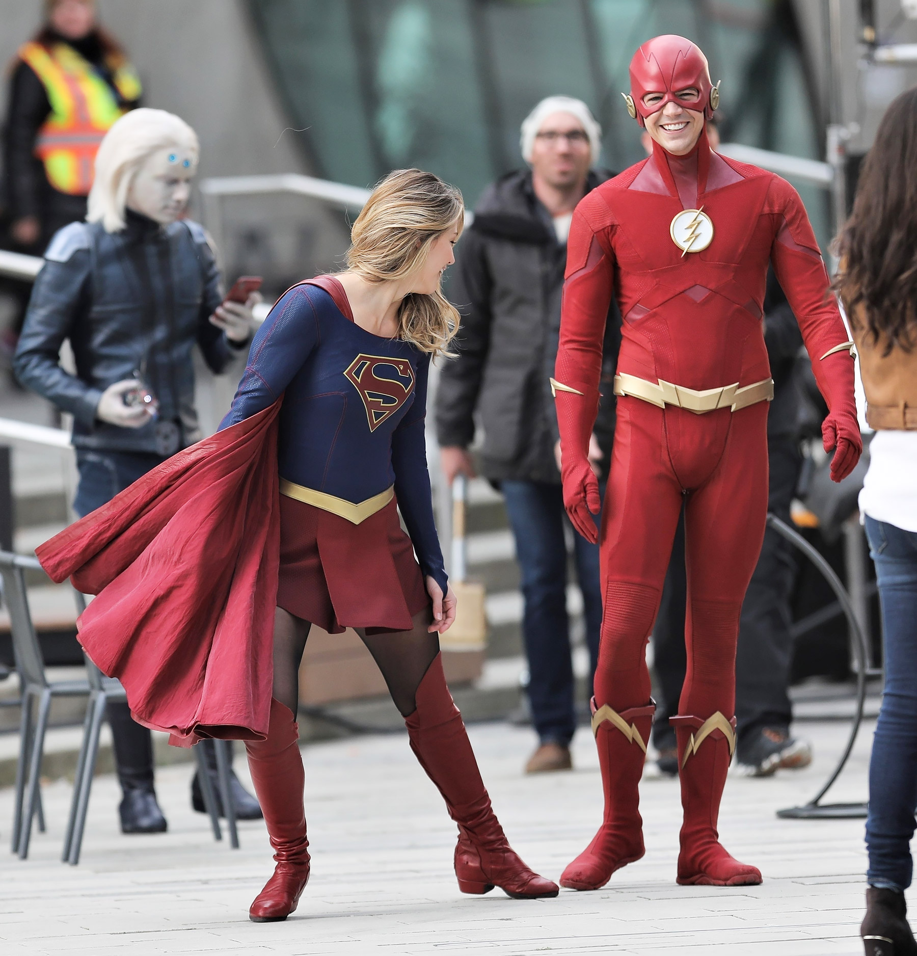 CW stars have fun while filming crossover event on Supergirl set