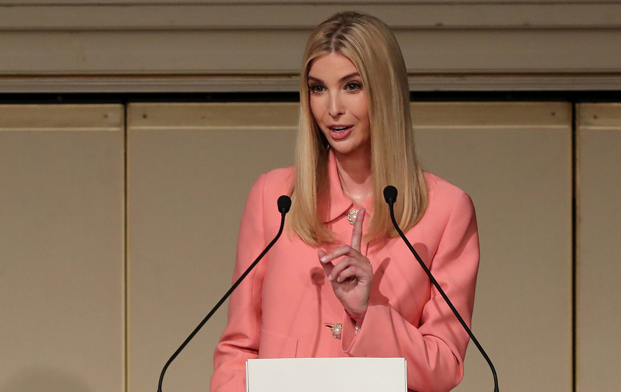 Ivanka Trump, the daughter and assistant to President Donald Trump, delivers a speech at World Assembly for Women in Tokyo