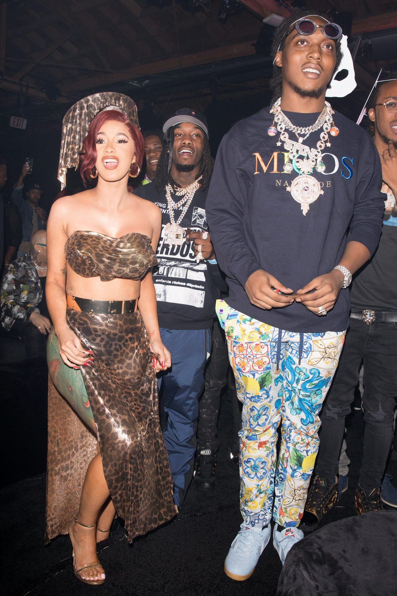 Cardi B and Offset are both spotted together celebration the album release for Quavo Huncho in Los Angeles