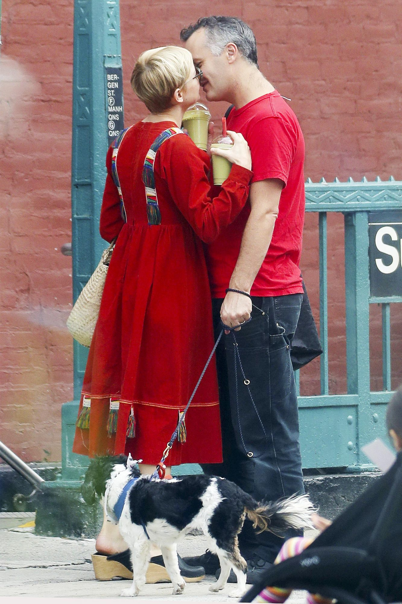 EXCLUSIVE: Michelle Williams and Phil Elverum Share a Kiss as They Step Out in Brooklyn, New York.