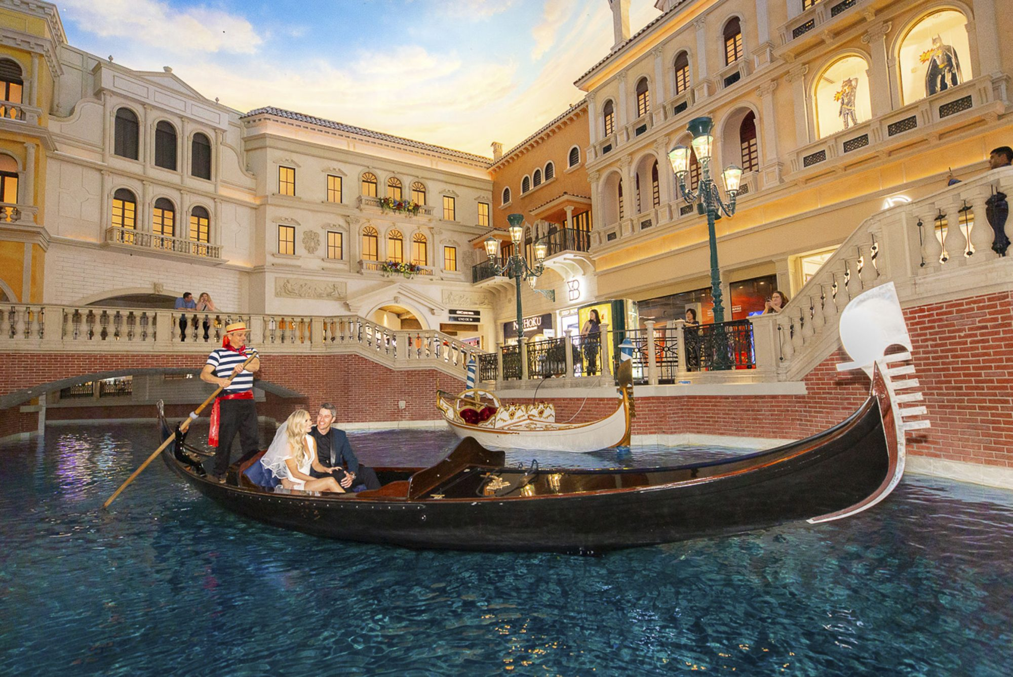 Arie Luyendyk Jr and Lauren Burnham take a romantic ride down the Grand Canal at The Venetian Resort Las Vegas