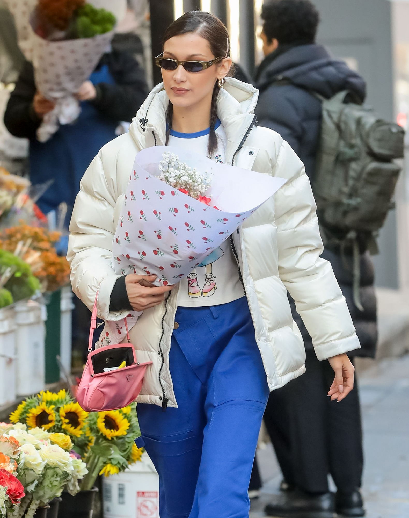 Bella Hadid Shops For Flowers In New York