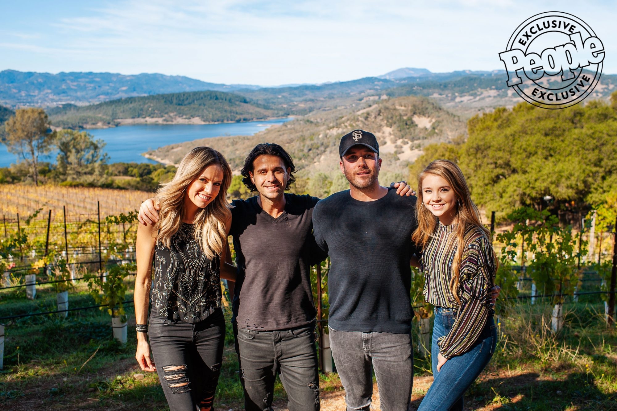 Hailey-&-Michaels,-Tyler-Rich-and-Tegan-Marie-pose-at-Chappellet-Winery-before-the-Country-Breakfast-at-LITV