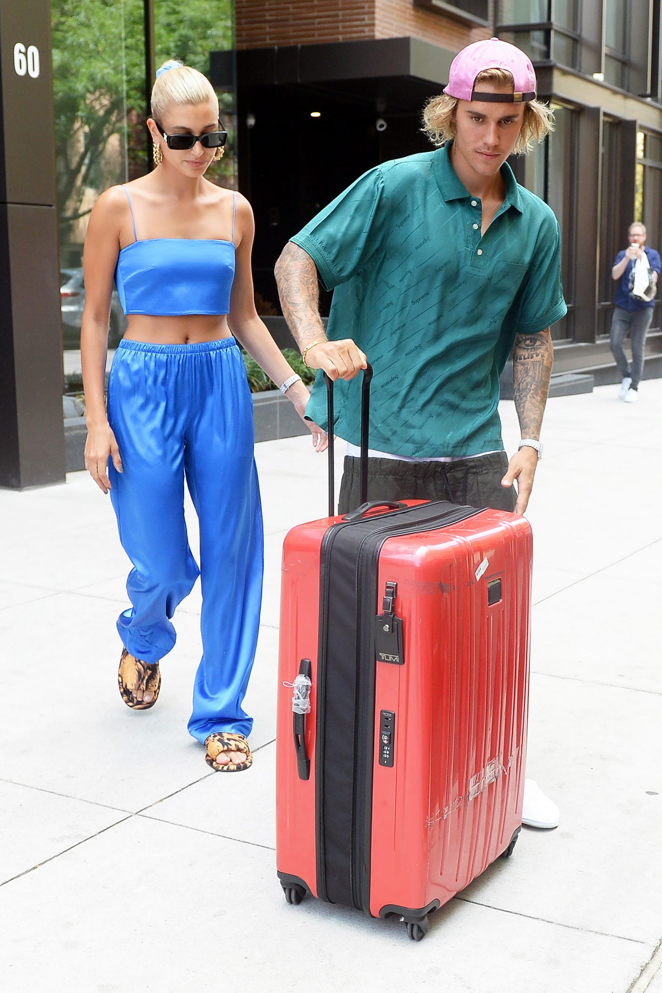 Justin Bieber and her fiance Hailey Baldwin are seen rolling lugages while leaving their brooklyn New York apartment