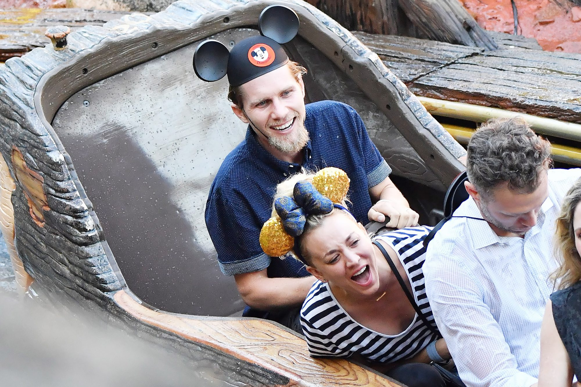 EXCLUSIVE: Kaley Cuoco celebrates her 33rd birthday at Disneyland with her husband Karl Cook
