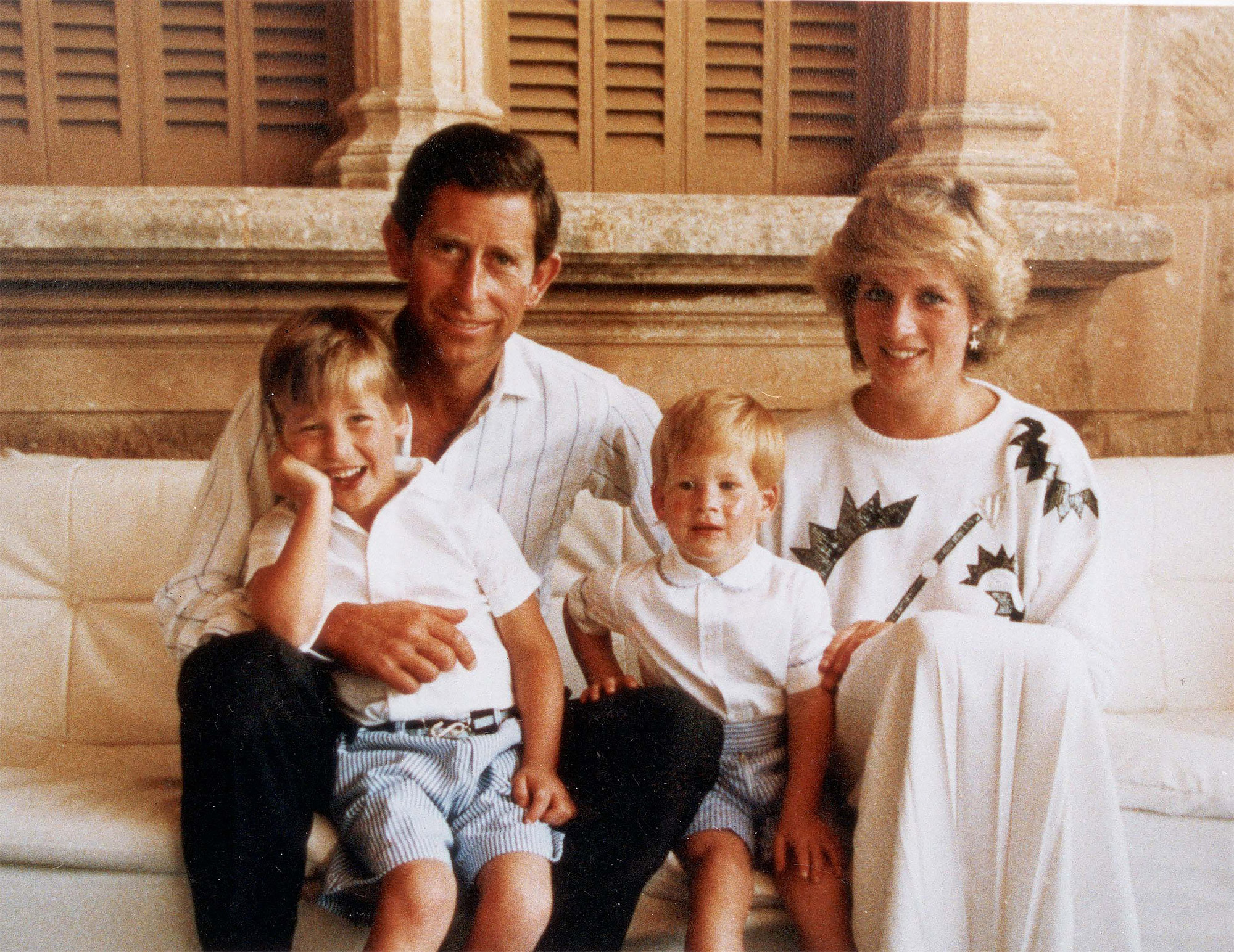 Christmas Card From The Prince And Princess Of Wales In 1987. The Picture Shows Prince Charles Princess Diana (diana Princess Of Wales Died August 1997) Prince William And Prince Harry On Holiday Together In Spain.