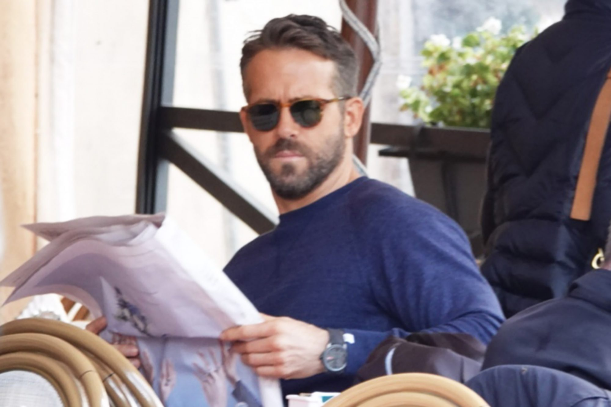 Ryan Reynolds seen filming a scene of Six Underground in Piazza di Spagna, in Rome