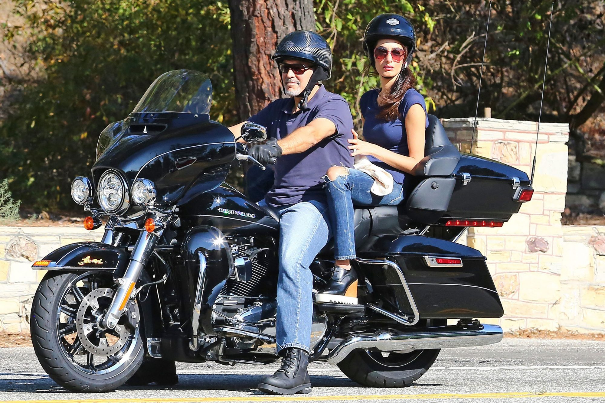 EXCLUSIVE: Exclusive: George Clooney And Amal Clooney Go For A Ride On His Harley Davidson In Los Angeles