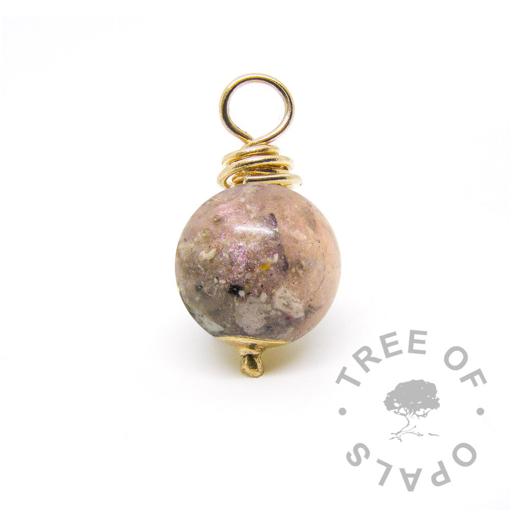 gold cremation ash pearl fairy pink