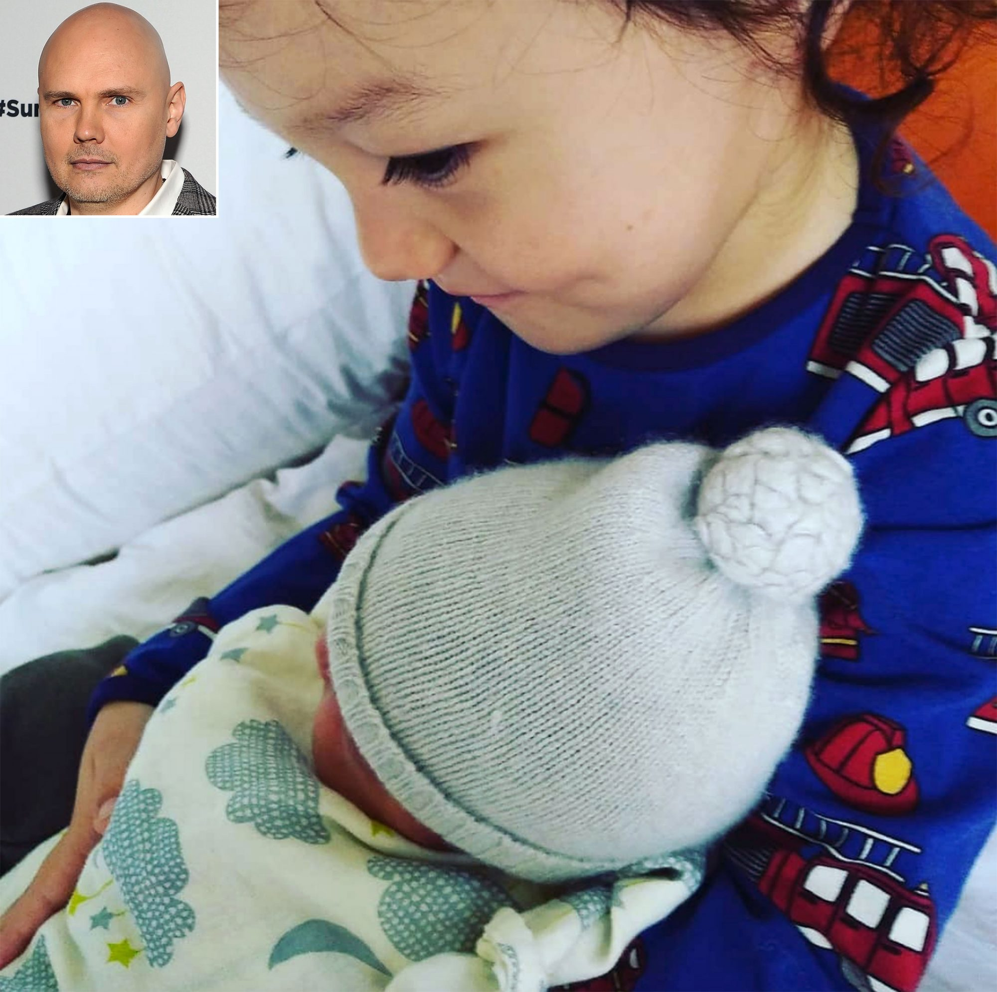There's a new addition to the Corgan family! On Oct. 2, Smashing Pumpkins frontman Billy Corgan surprised fans and announced on Instagram that he and partner Chloe Mendel had welcomed a baby girl together, Philomena Clementine Corgan. The singer posted a sweet shot of the newborn being held by her big brother, 2½-year-old Augustus Juppiter.