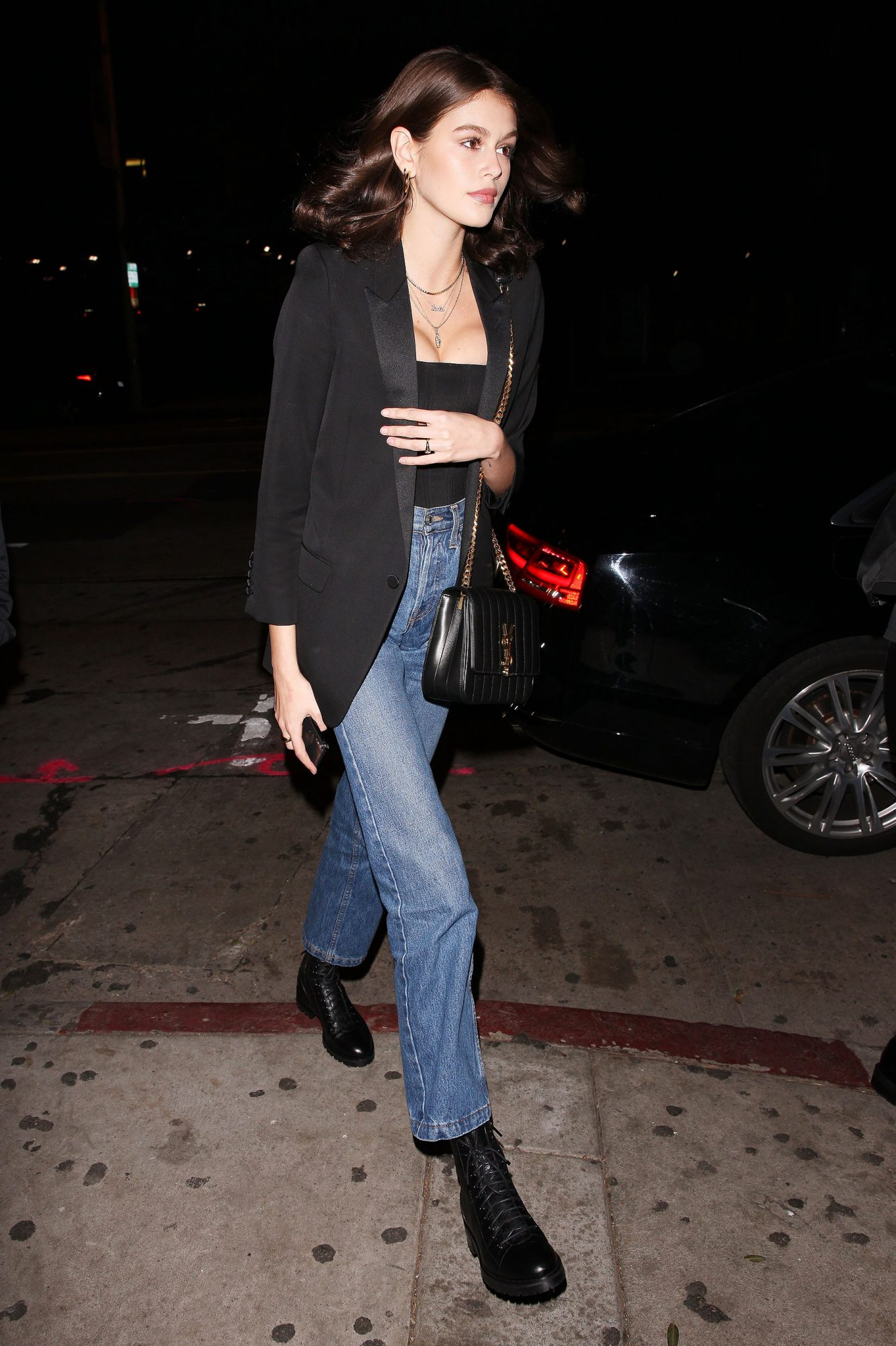 Kaia Gerber is seen leaving the Peppermint club with Charlie Puth after watching Dave Chappelle and John Mayer perform live on stage